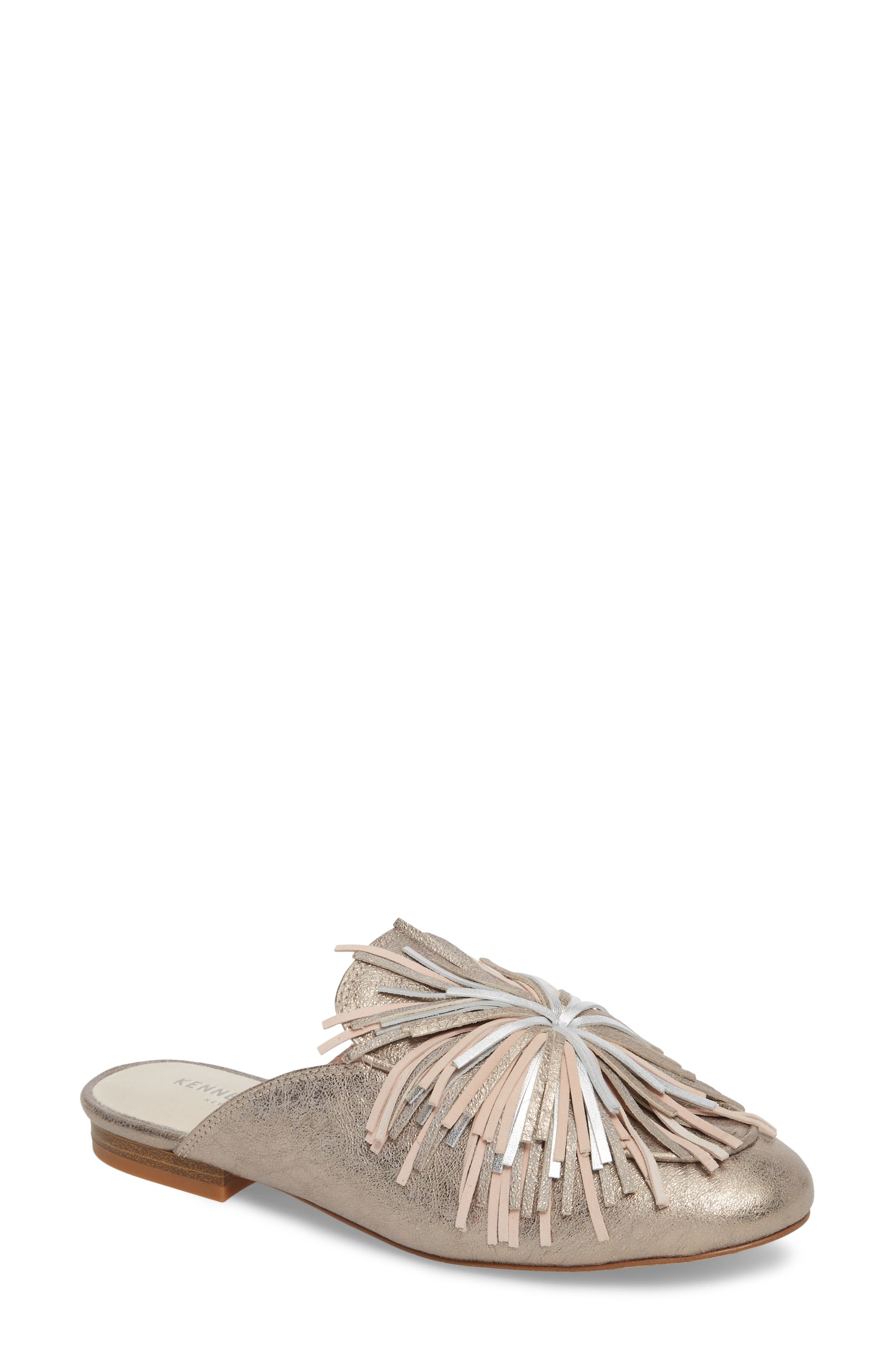 Wallice Firework Fringe Loafer Mule,                             Main thumbnail 1, color,                             Dark Rose Metallic Leather