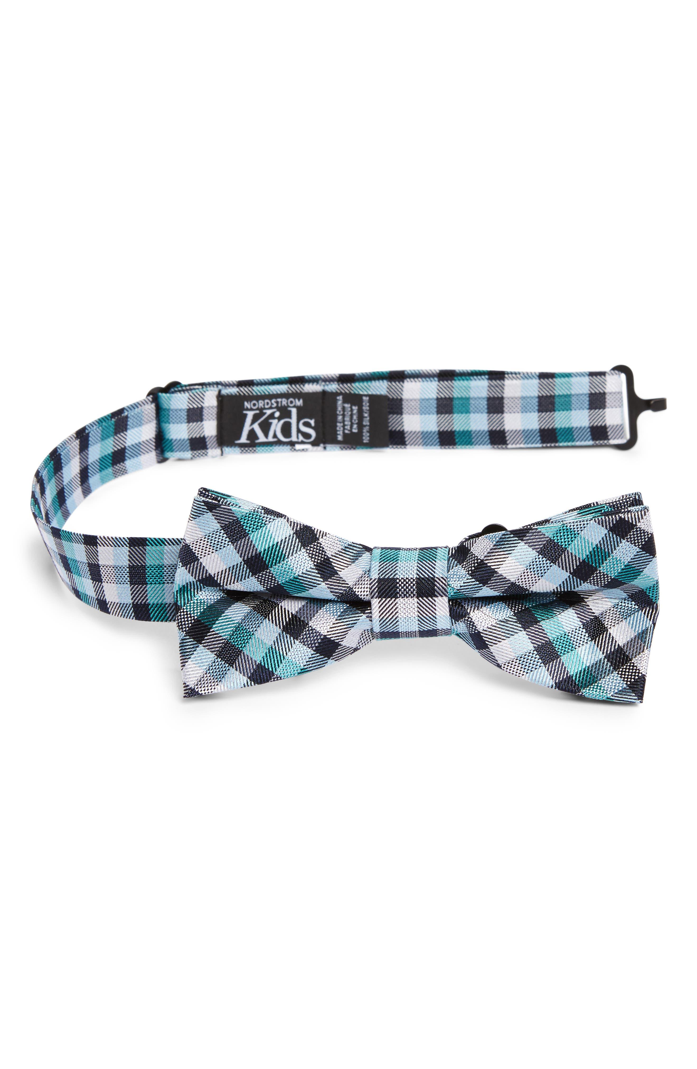 Plaid Silk Bow Tie,                         Main,                         color, Lake