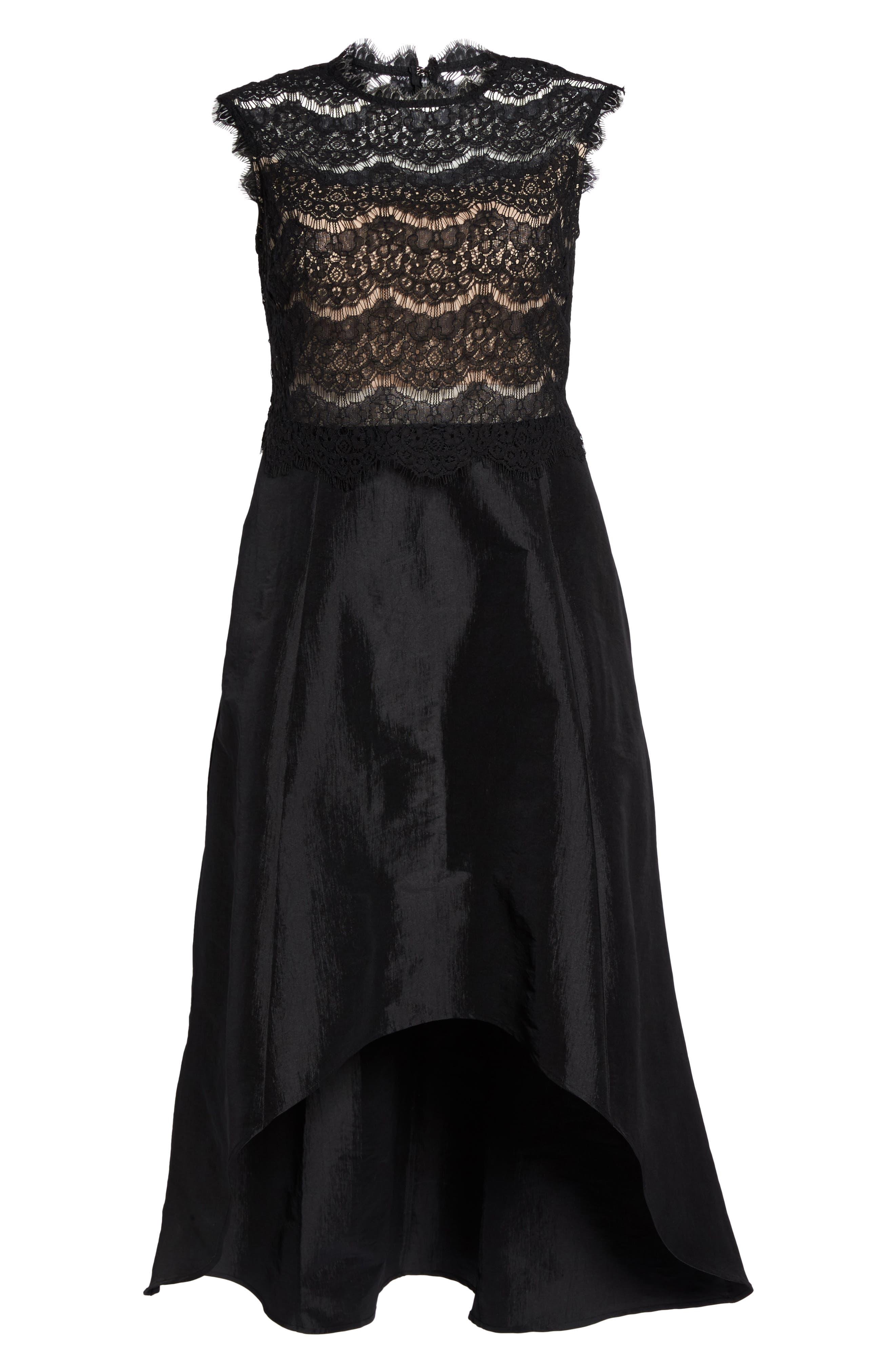 Lace & Taffeta Gown,                             Alternate thumbnail 6, color,                             Black