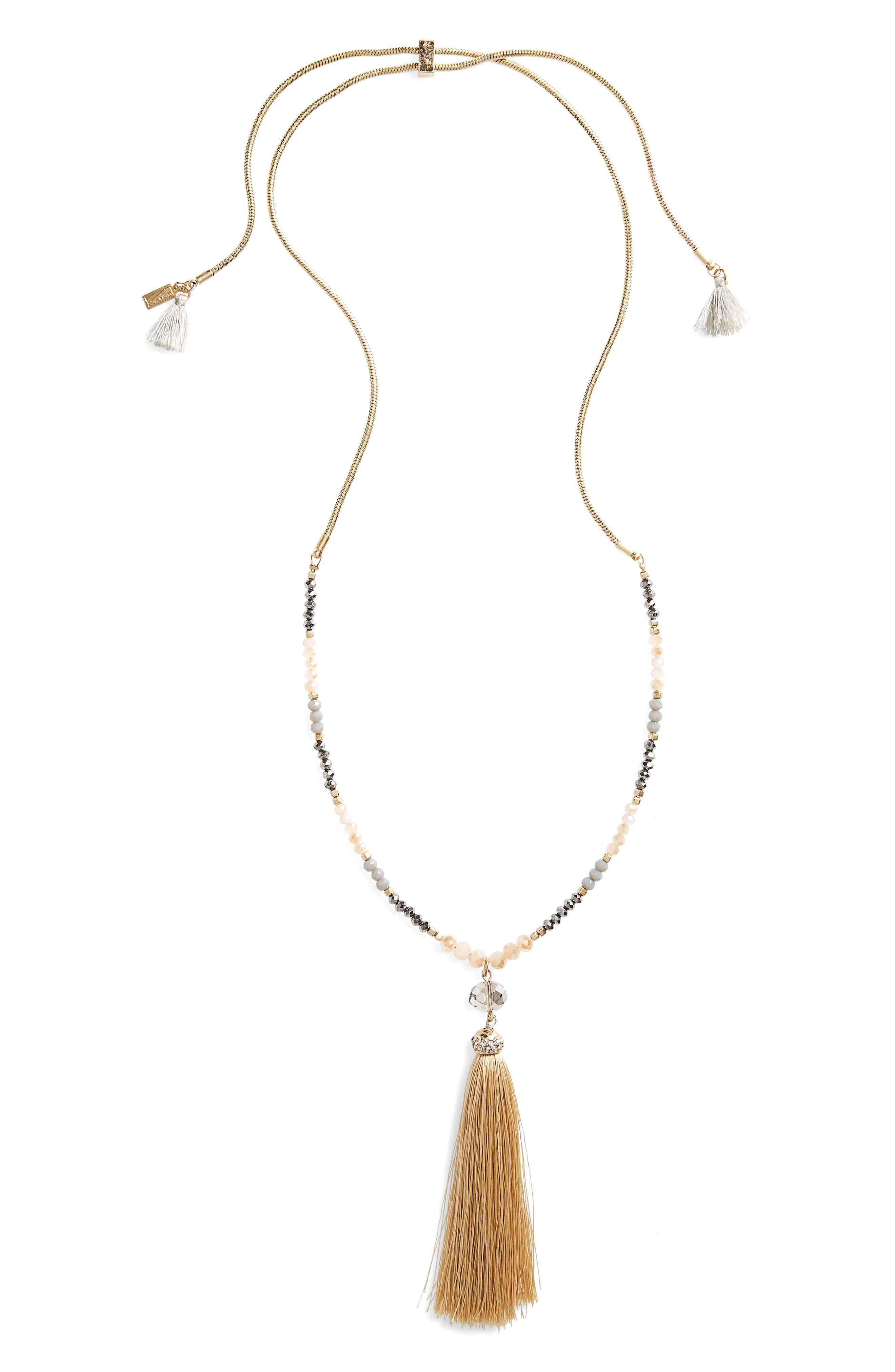 Adjustable Chain Necklace,                             Main thumbnail 1, color,                             Neutral