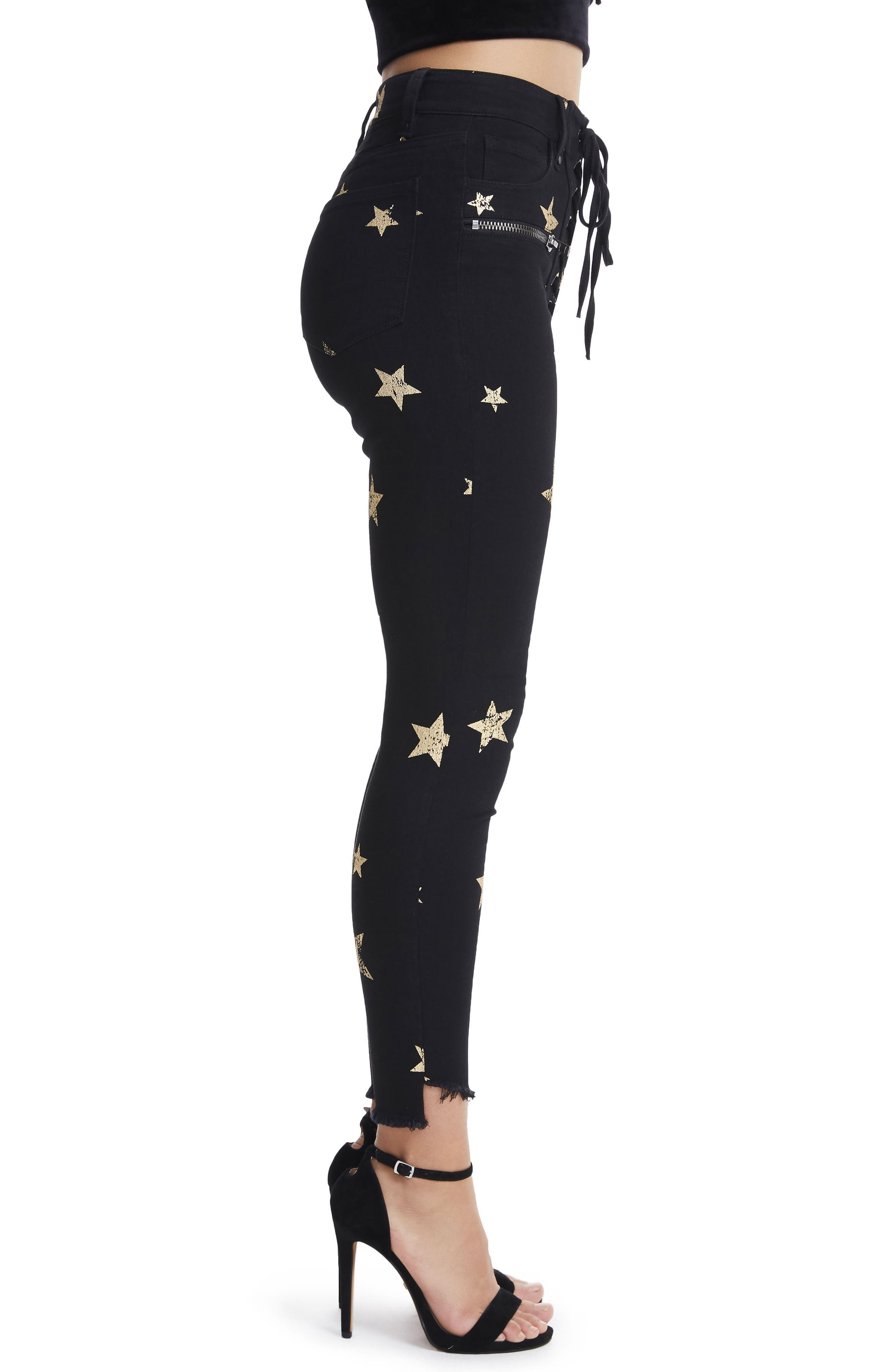 Alternate Image 3  - AFRM Kit Lace-Up High Waist Ankle Skinny Jeans (Rock Star)