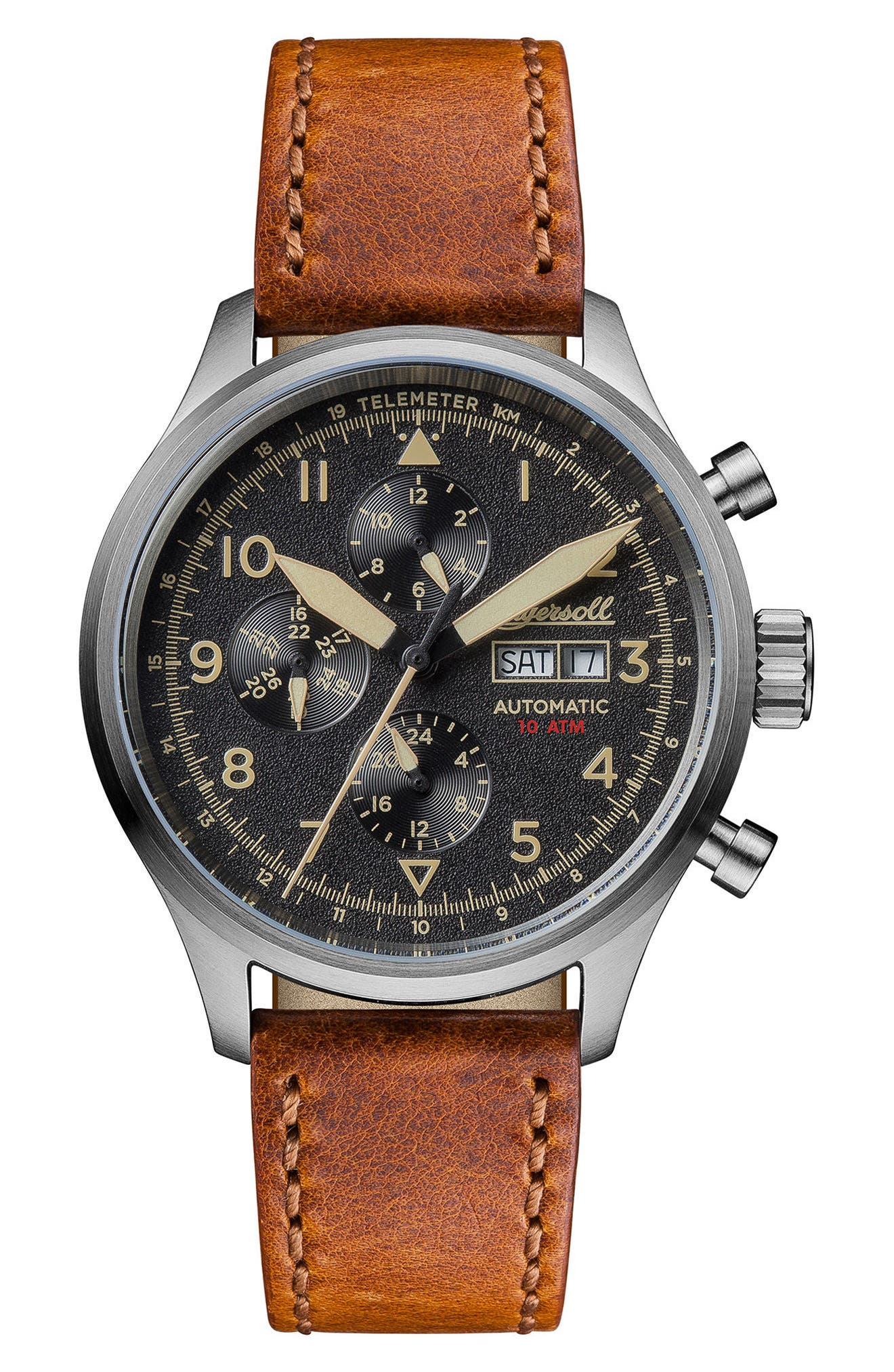 Ingersoll Bateman Automatic Multifunction Leather Strap Watch, 45mm,                             Main thumbnail 1, color,                             Brown/ Black/ Silver