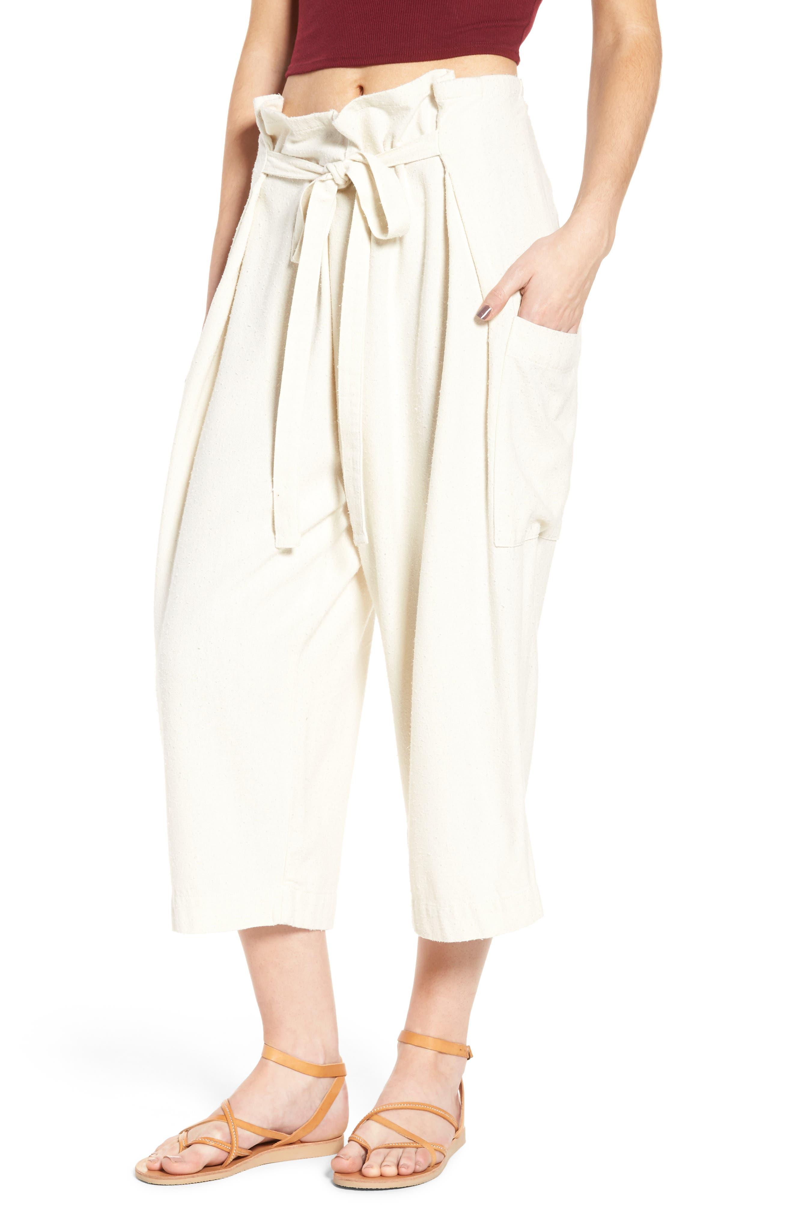 High Waist Crop Silk Beach Pants,                         Main,                         color, Pristine