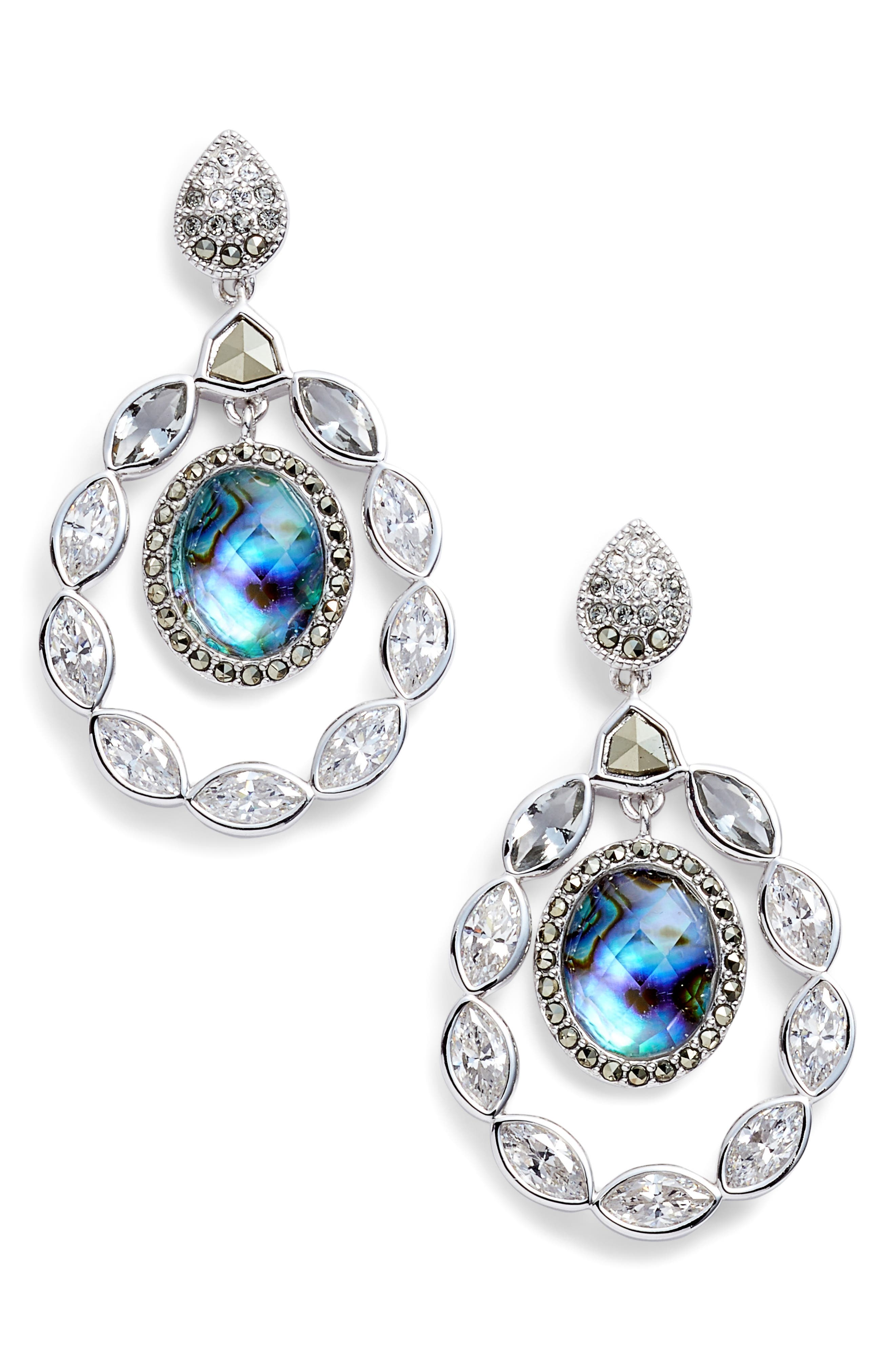 Crystal Drop Earrings,                         Main,                         color, Abalone/ Silver