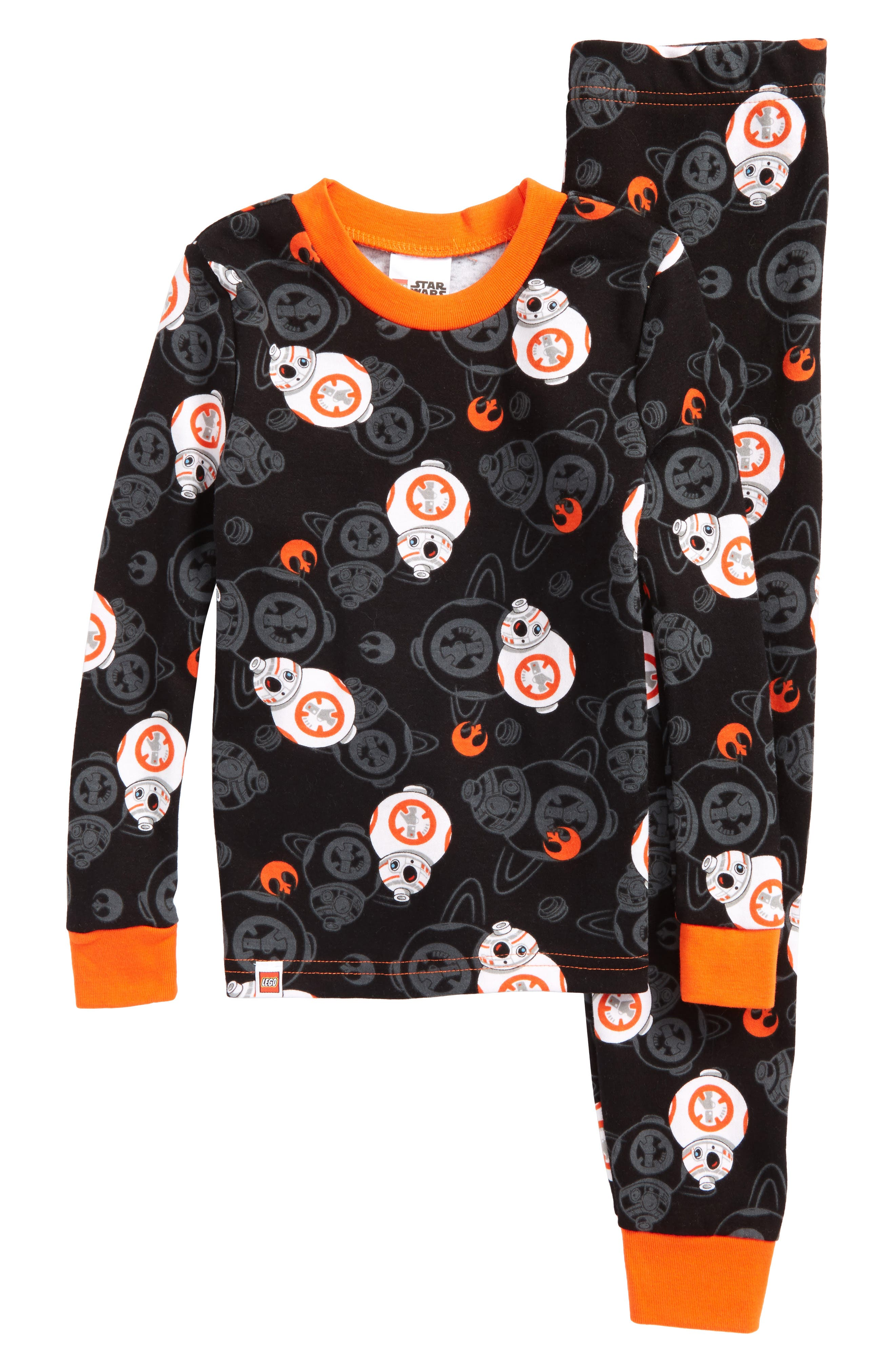 Lego Star Wars<sup>™</sup> BB-8 Fitted Two-Piece Cotton Pajama Set,                         Main,                         color, Black