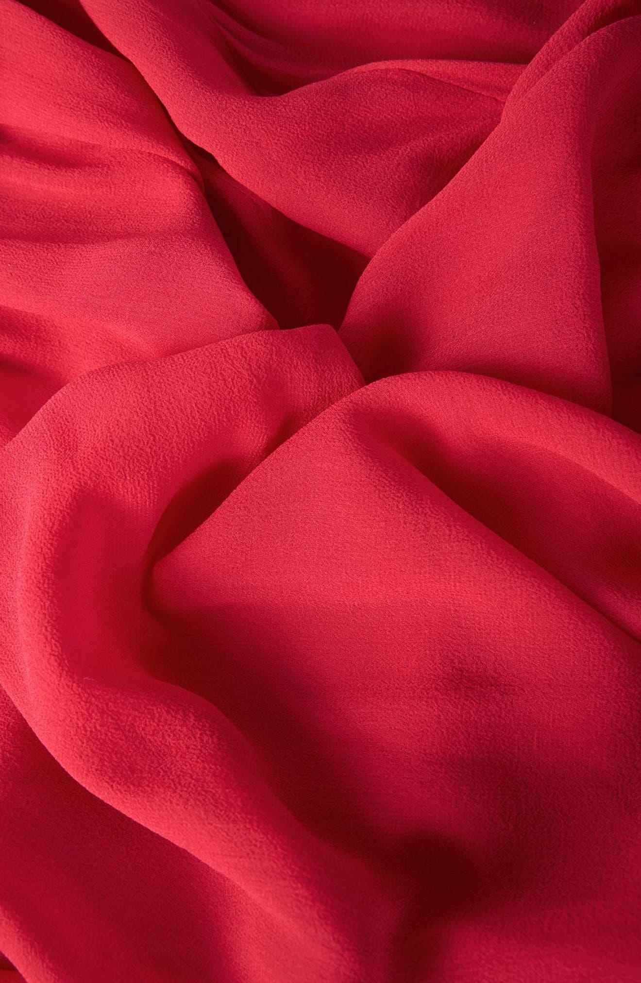 Pleat Neck Blouse,                             Alternate thumbnail 5, color,                             Red