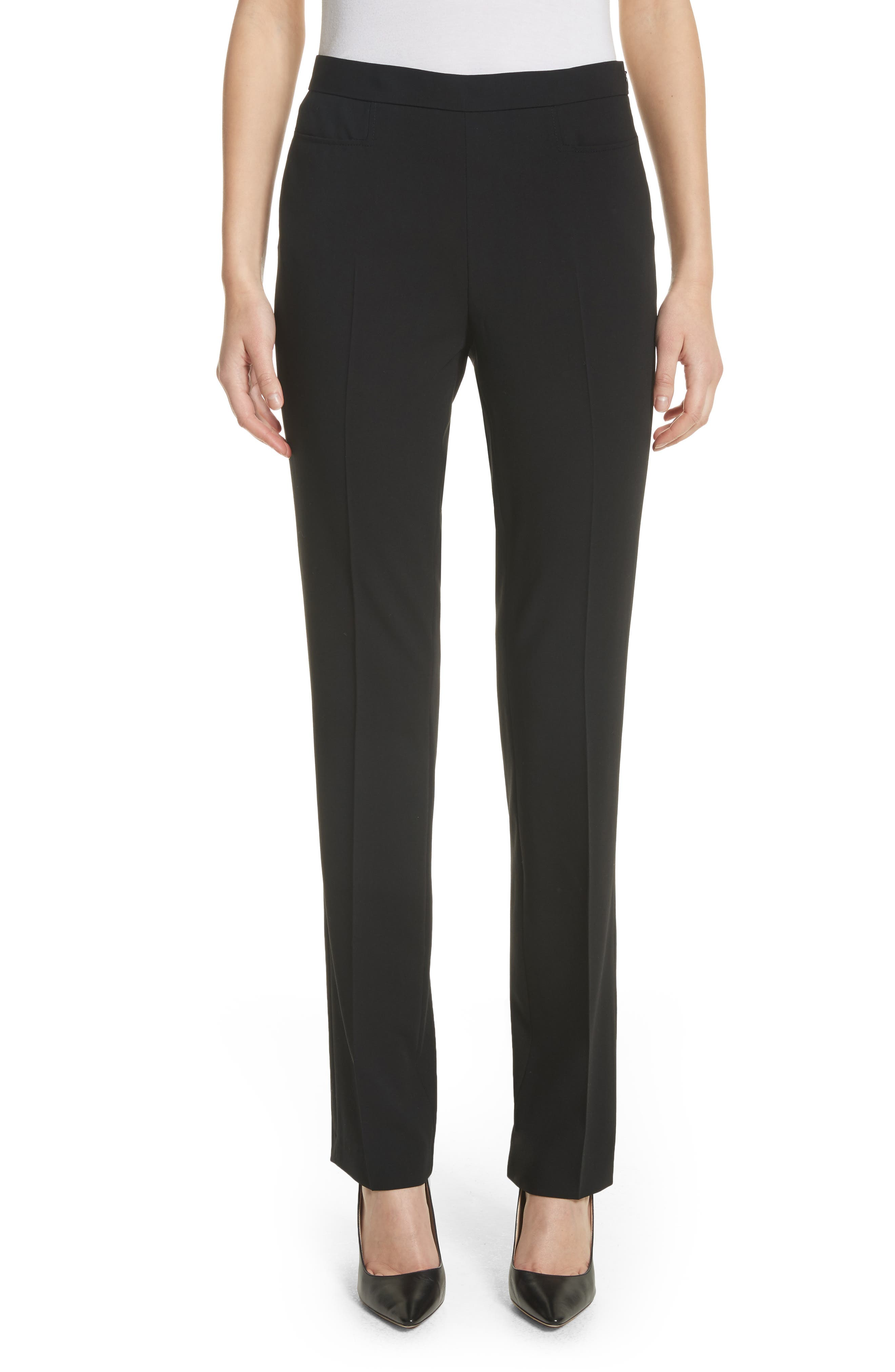 Francoise Wool Straight Leg Pants,                         Main,                         color, Black