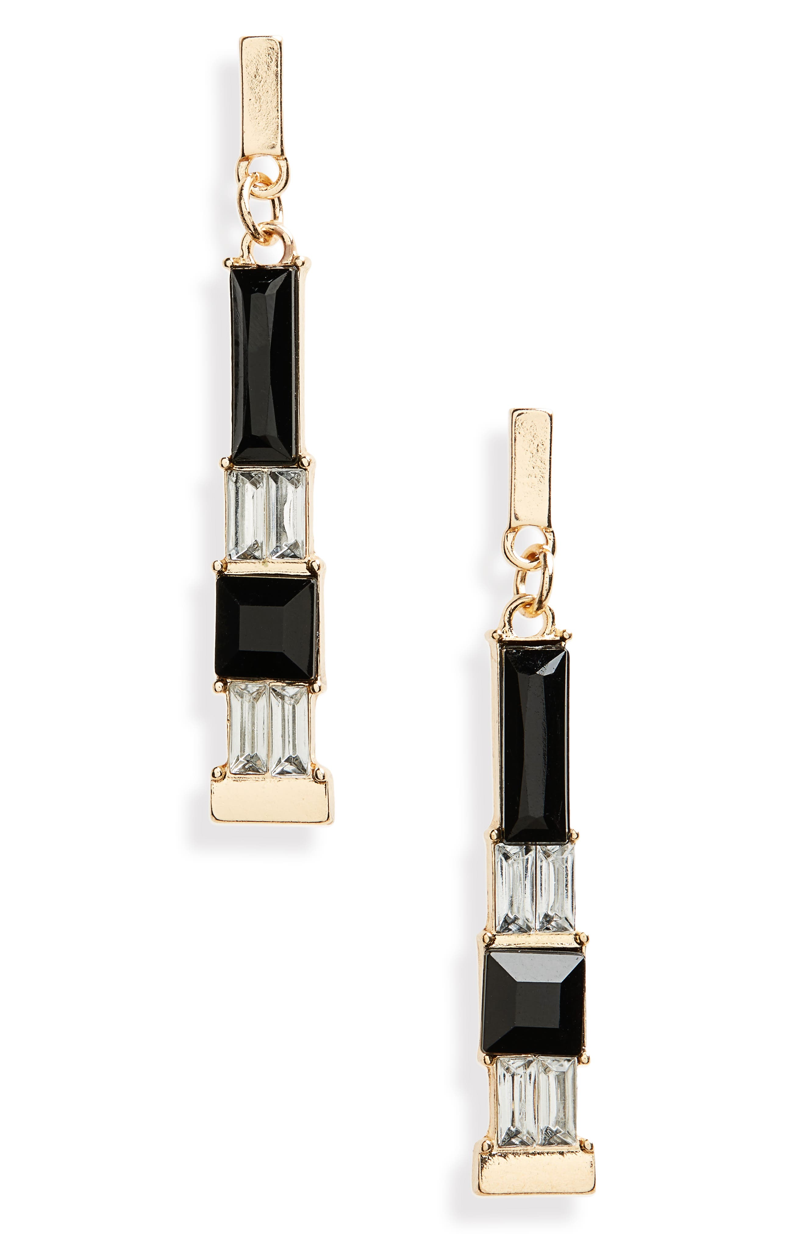 Geometric Stone Drop Earrings,                             Main thumbnail 1, color,                             Black/ Gold/ Crystal