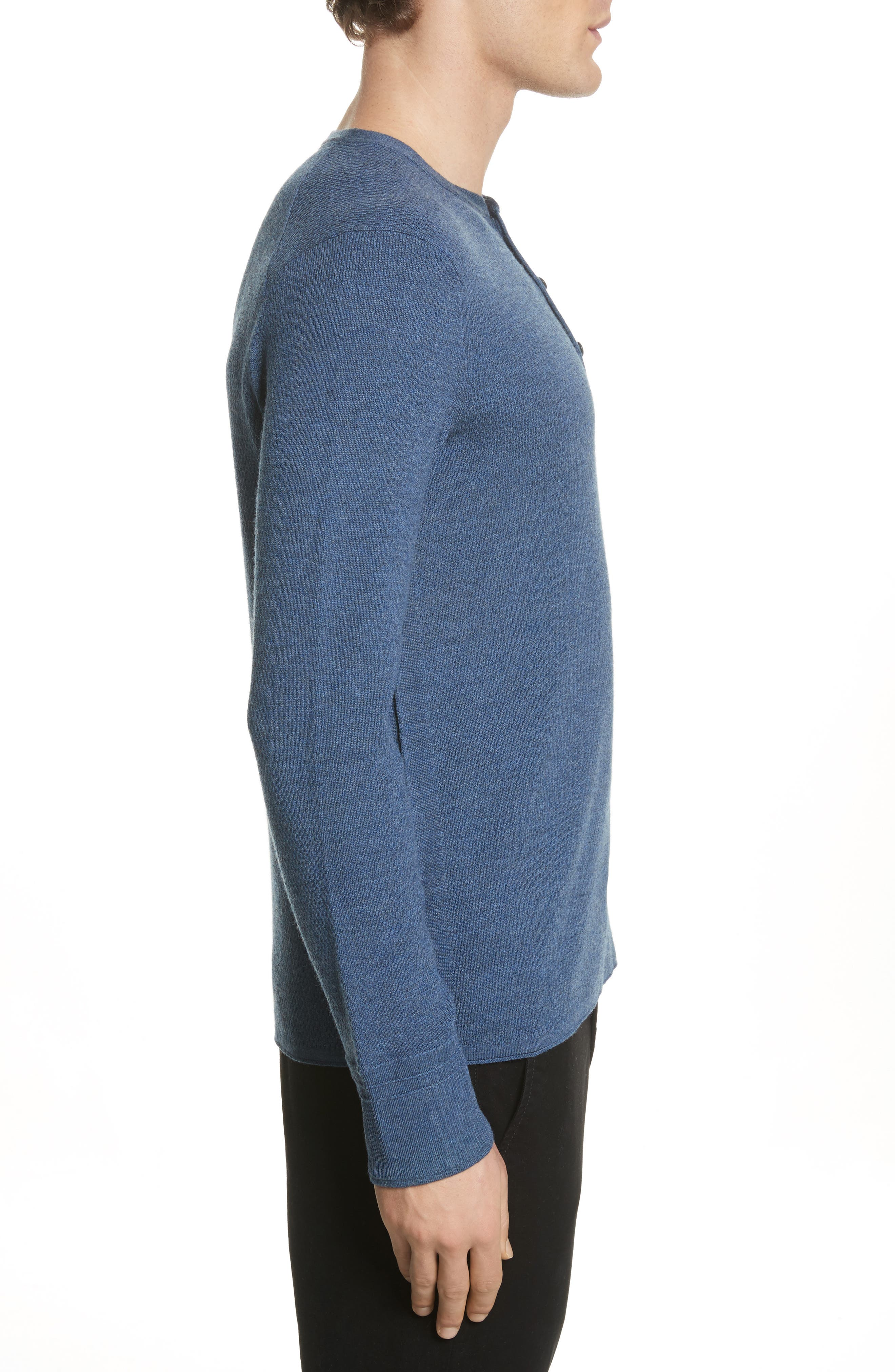 Gregory Merino Wool Blend Thermal Henley,                             Alternate thumbnail 3, color,                             Heather Blue