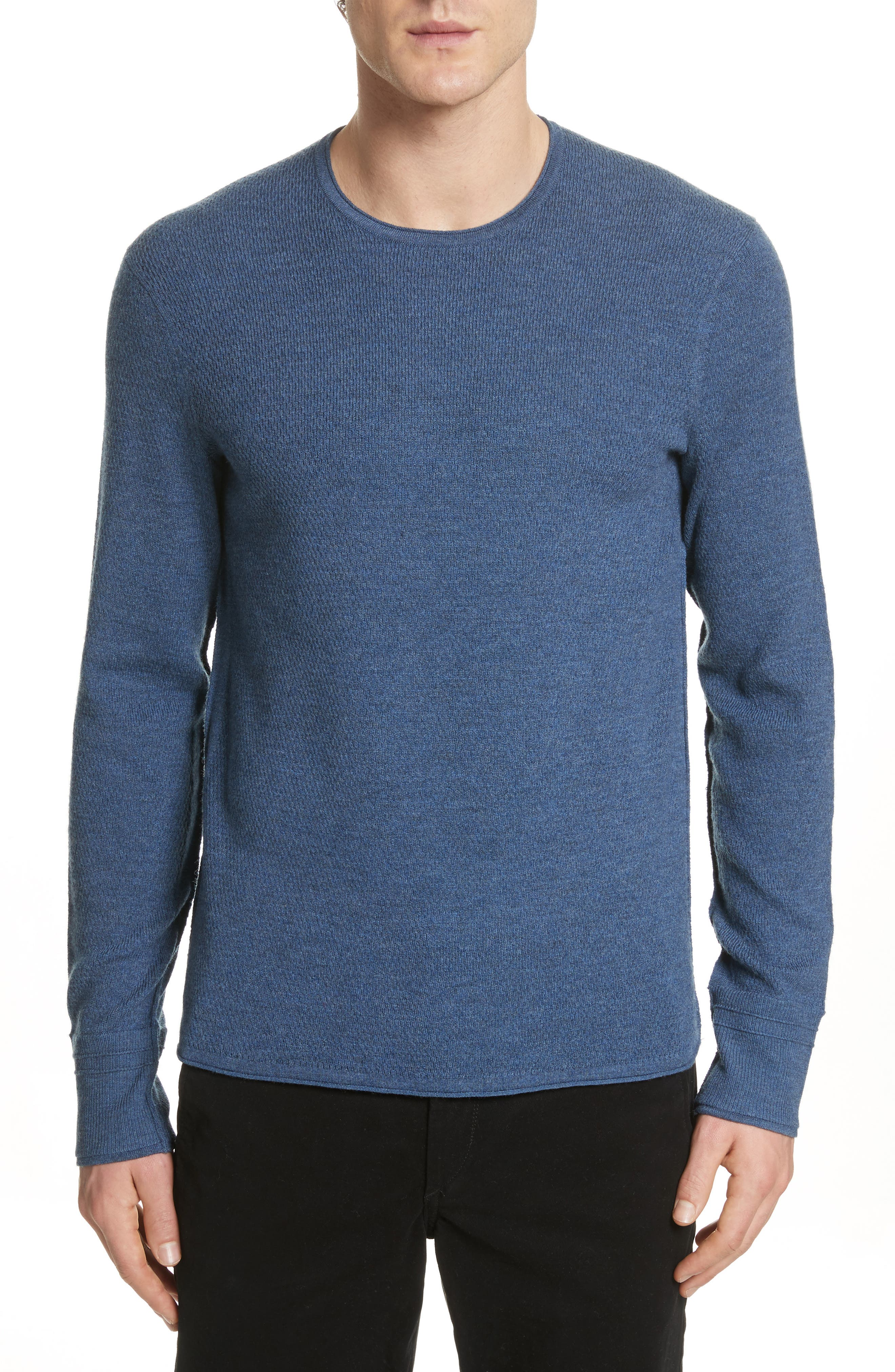 Gregory Merino Wool Blend Crewneck Sweater,                             Main thumbnail 1, color,                             Heather Blue
