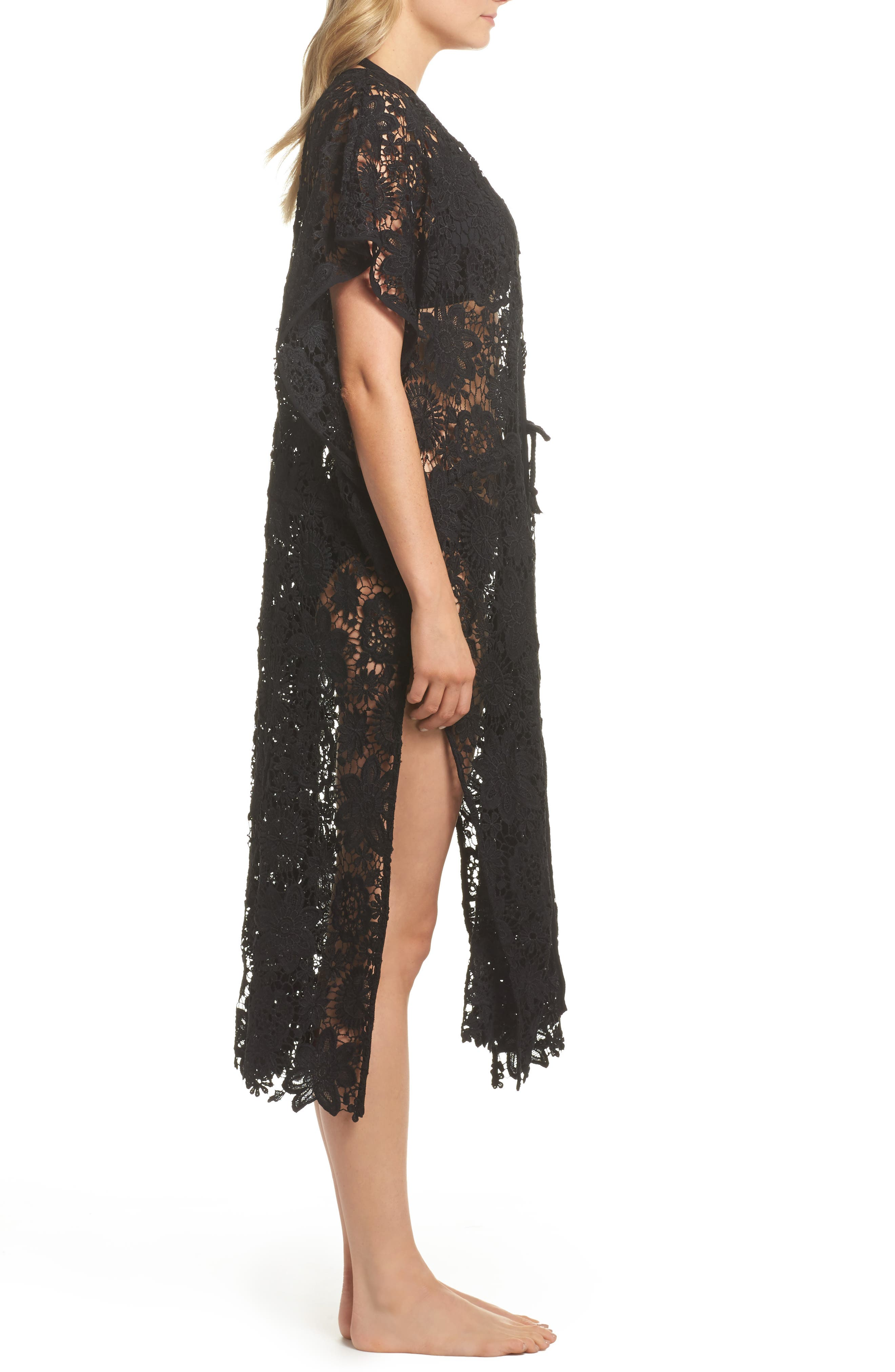 Star Coral Lace Cover-Up Tunic,                             Alternate thumbnail 3, color,                             Black