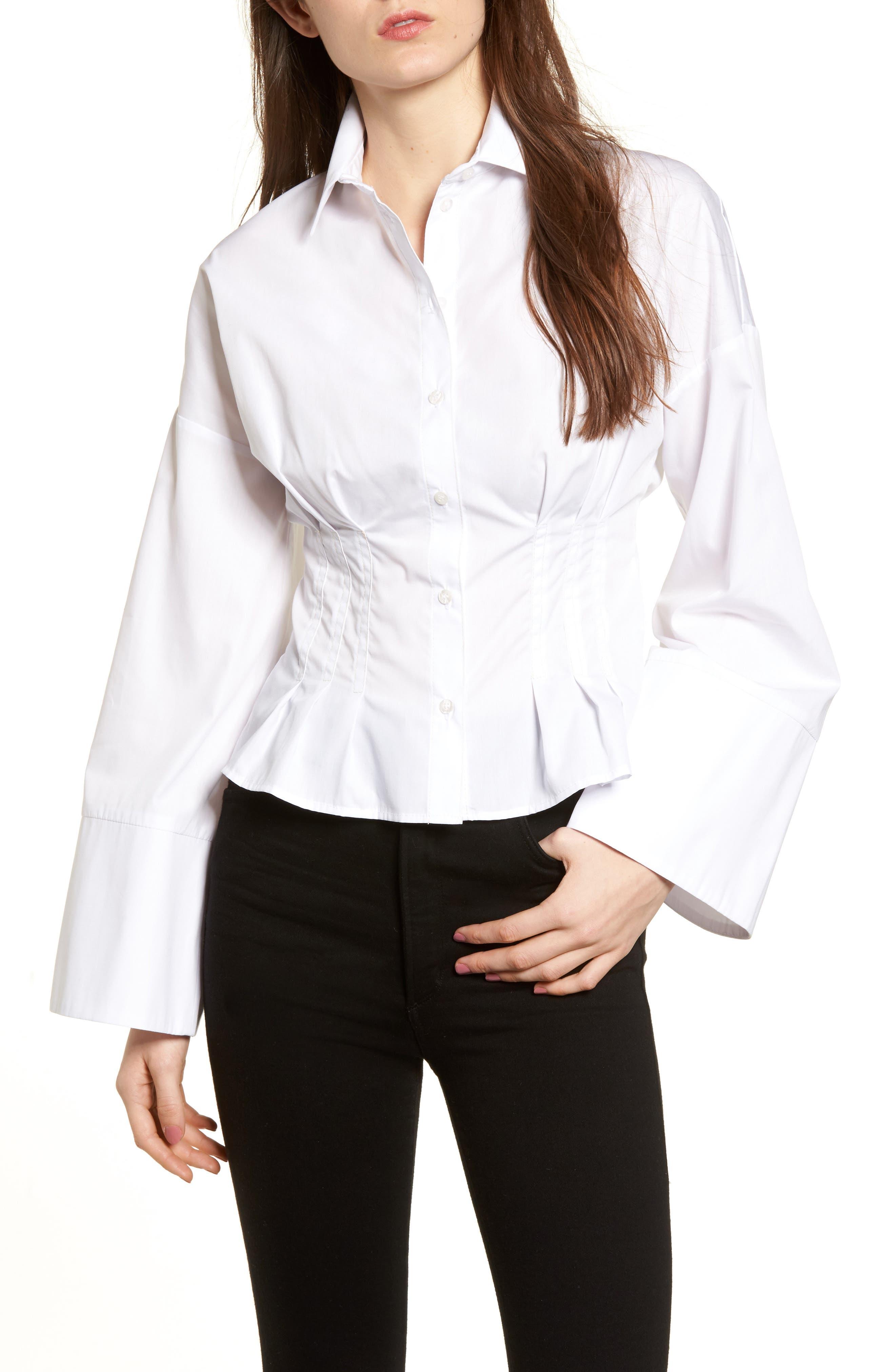 Tuck Waist Corset Shirt,                         Main,                         color, Ivory