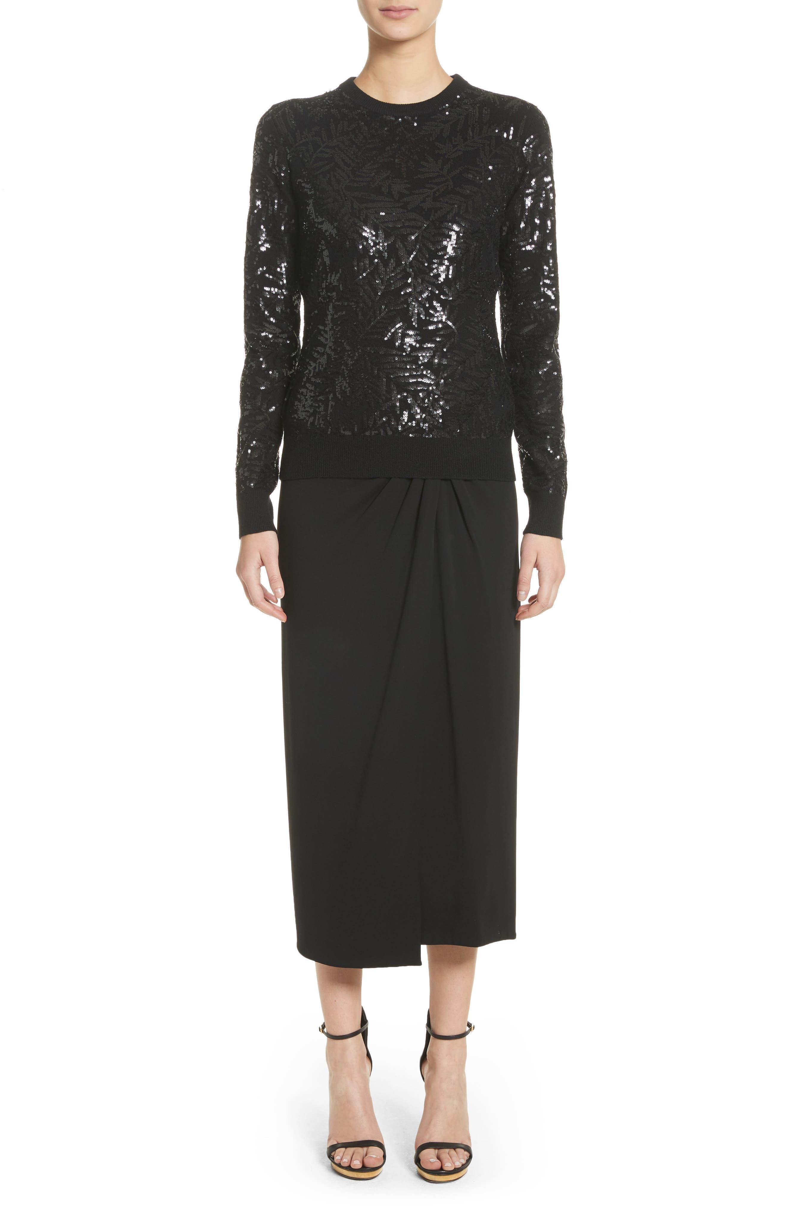 Sarong Midi Skirt,                             Alternate thumbnail 8, color,                             Black