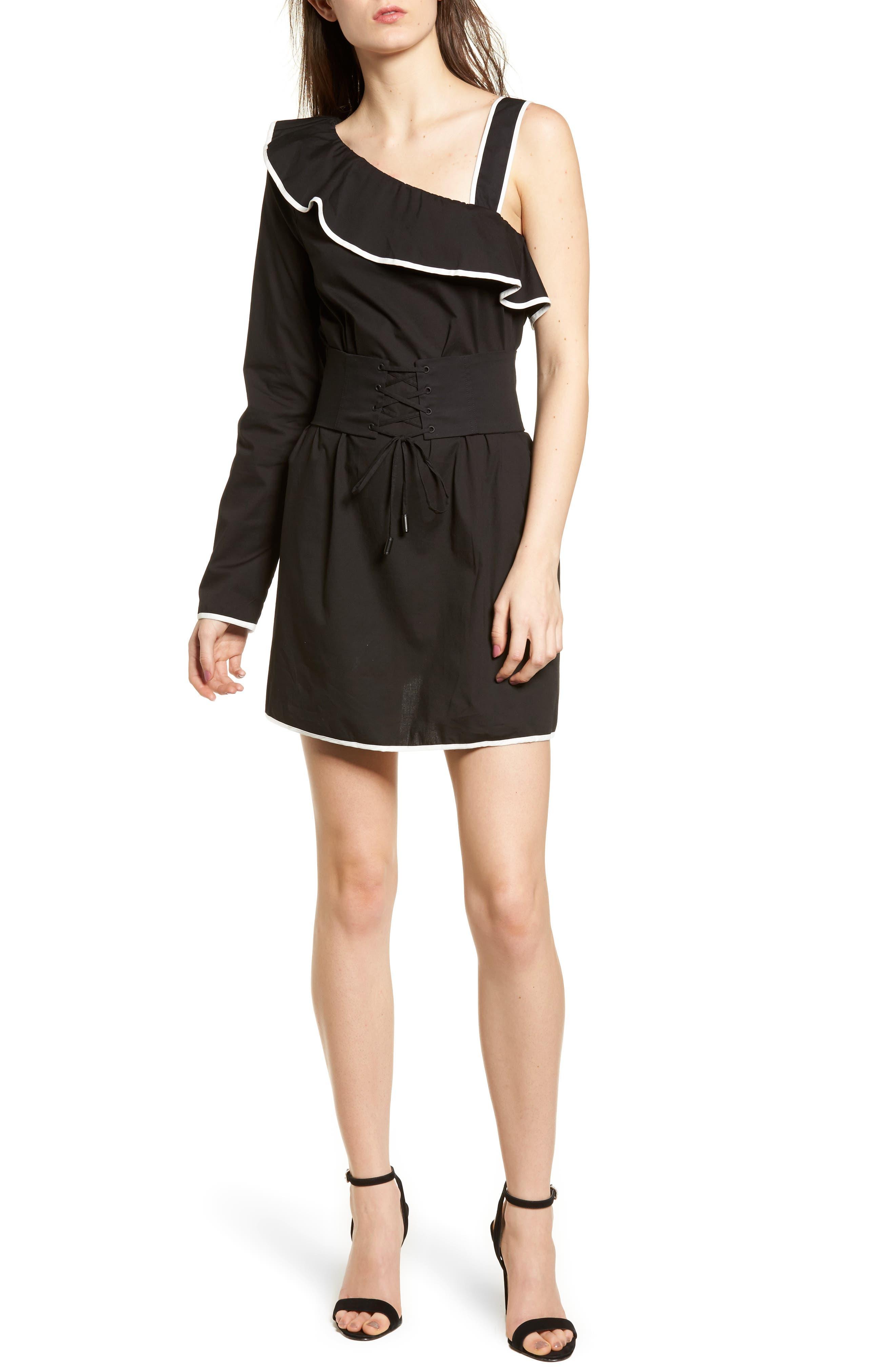 Helen One-Shoulder Ruffle Dress,                         Main,                         color, Black/ White