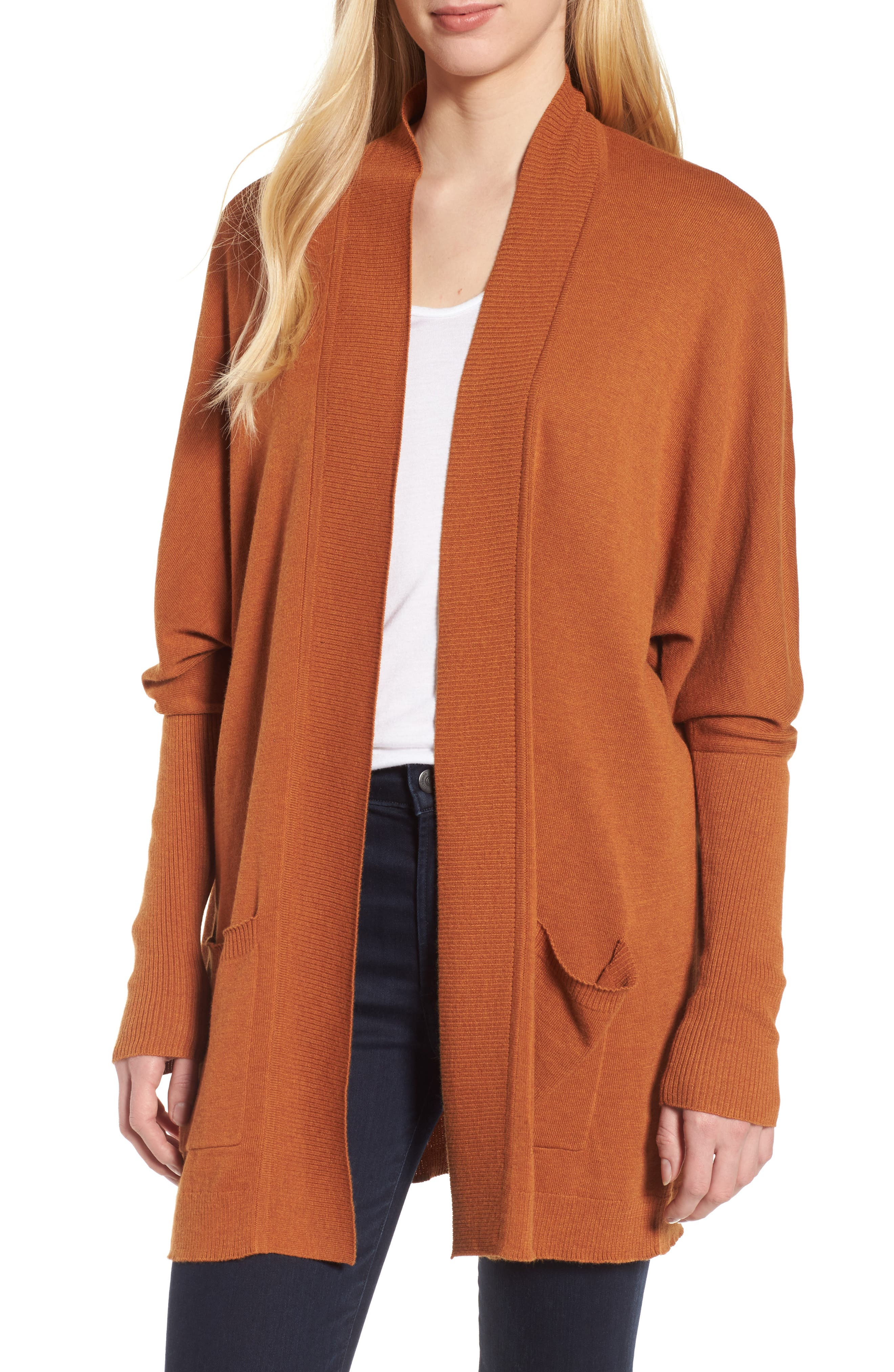 Open Front Cardigan,                         Main,                         color, Tan Adobe