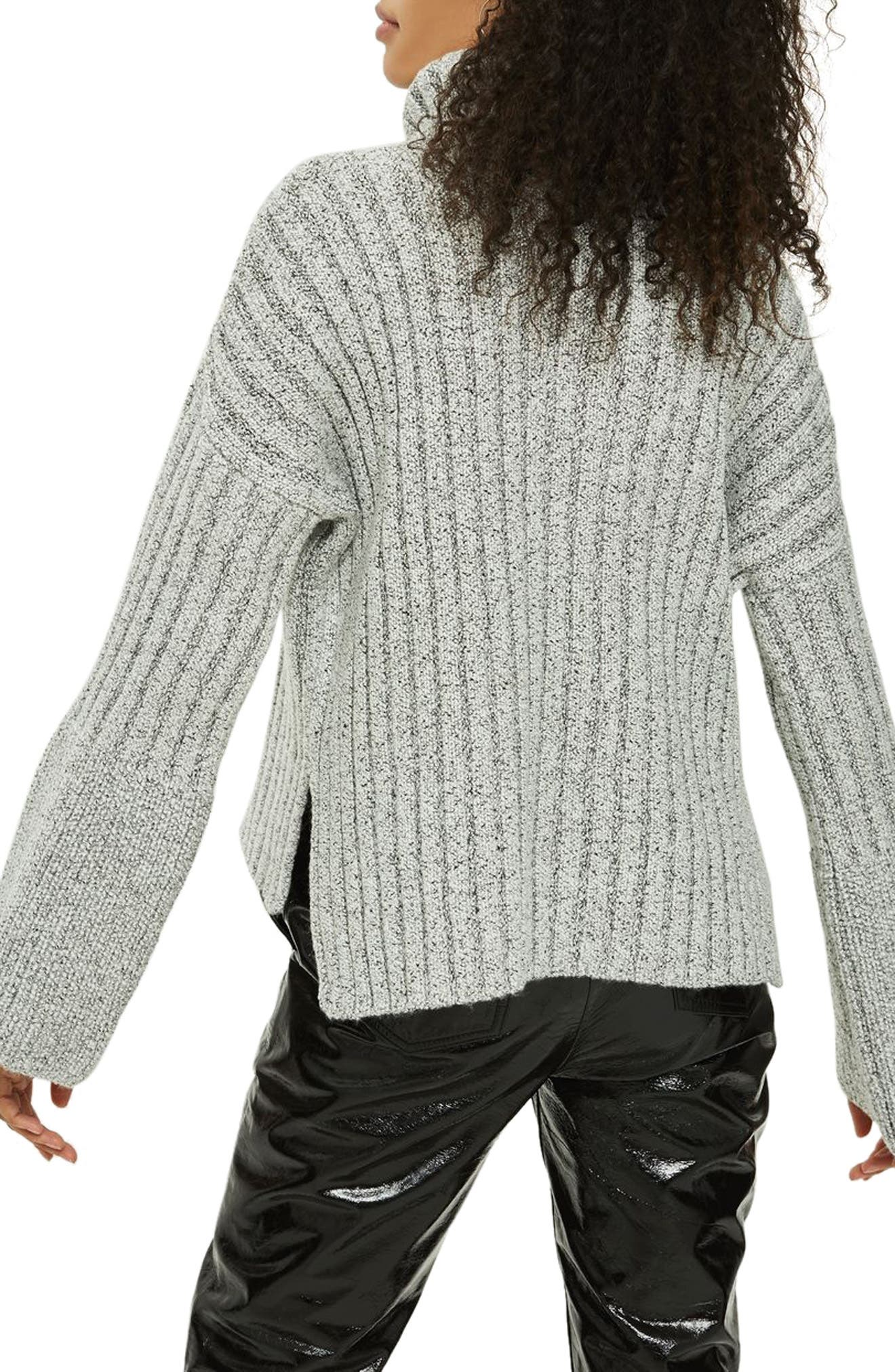Flare Cuff Turtleneck Sweater,                             Alternate thumbnail 2, color,                             Grey