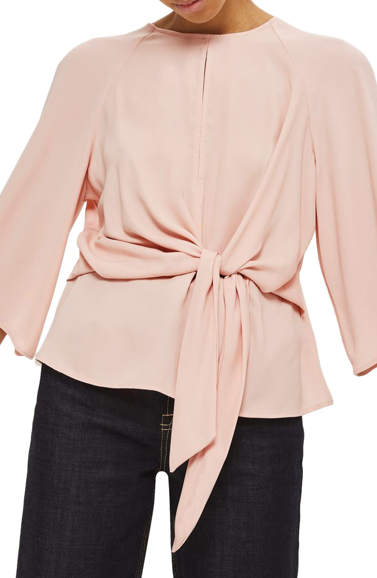 Alternate Image 1 Selected - Topshop Slouchy Knot Front Blouse