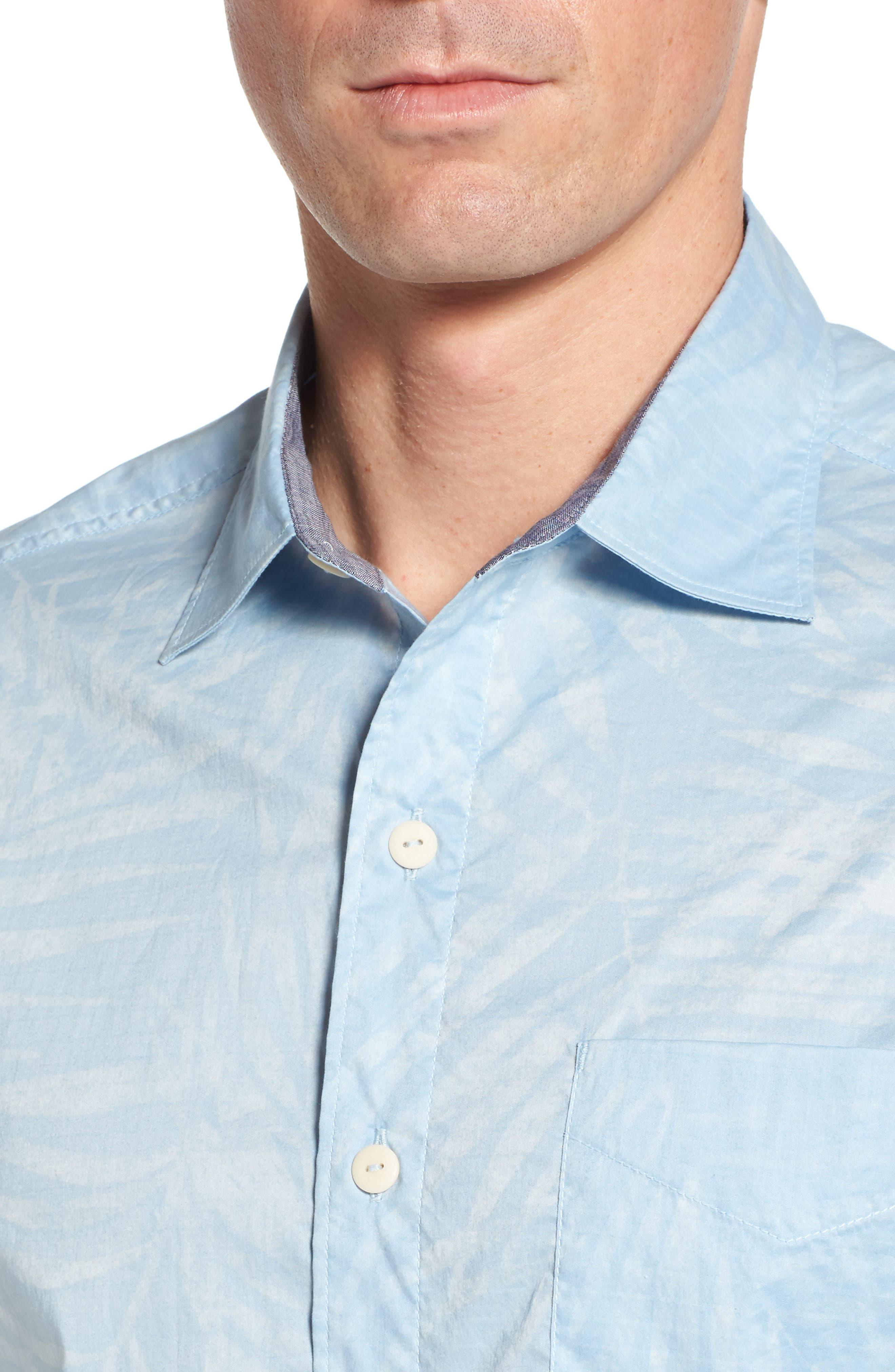 Vero Fronds Sport Shirt,                             Alternate thumbnail 4, color,                             Opal