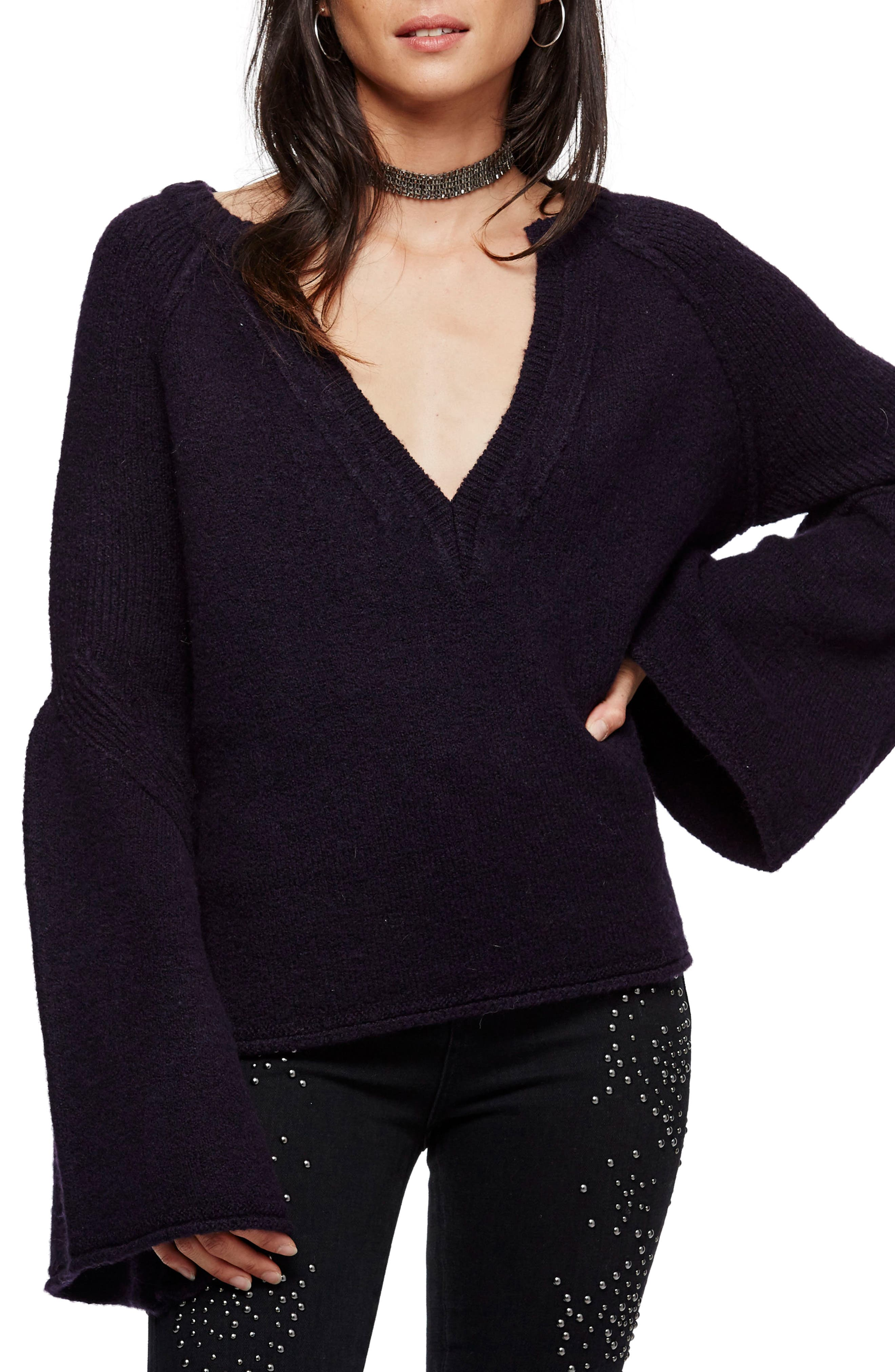 Lovely Lines Bell Sleeve Sweater,                             Main thumbnail 1, color,                             Purple