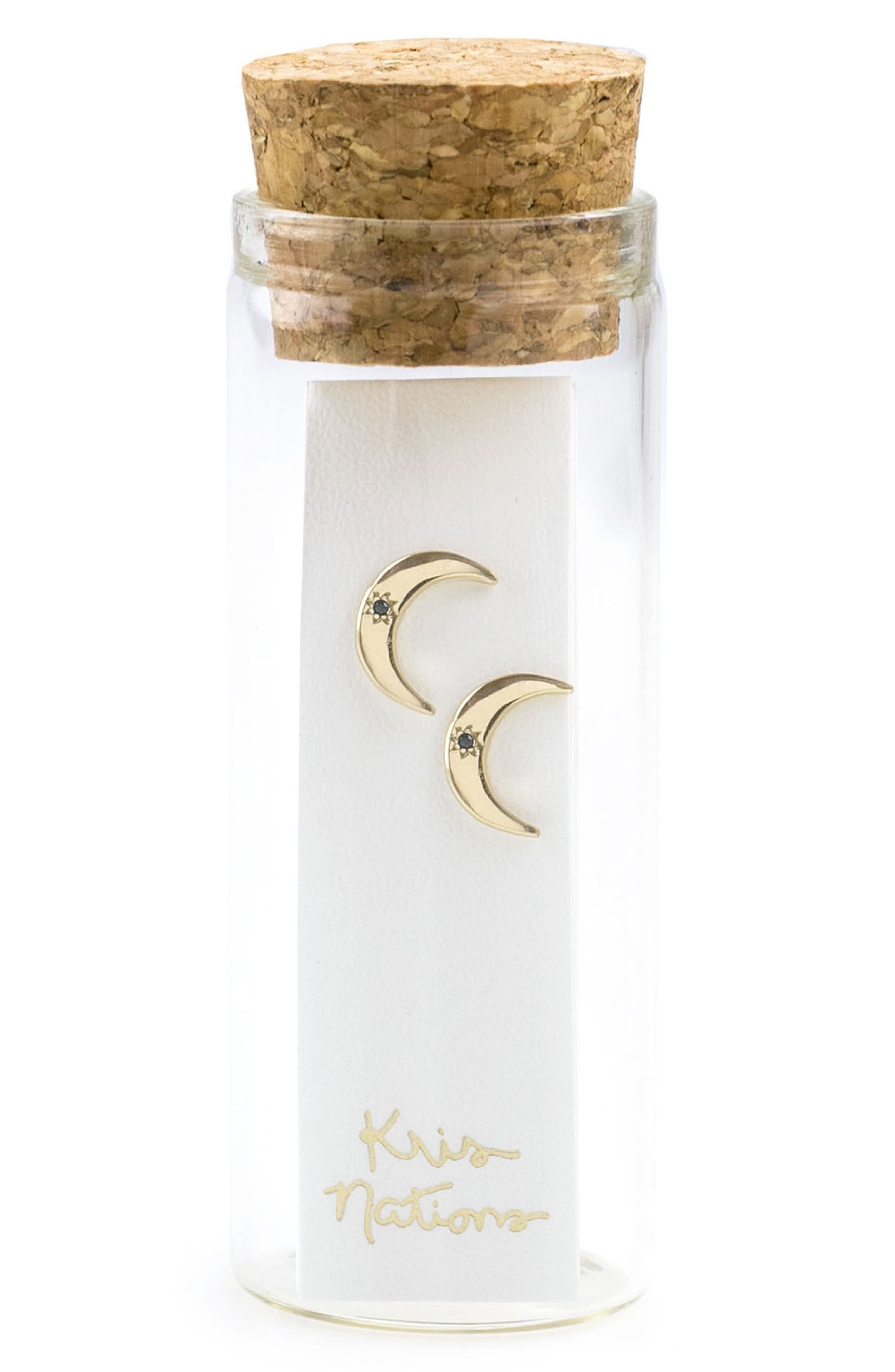 Crescent Moon Stone Stud Earrings,                             Alternate thumbnail 2, color,                             Gold Black