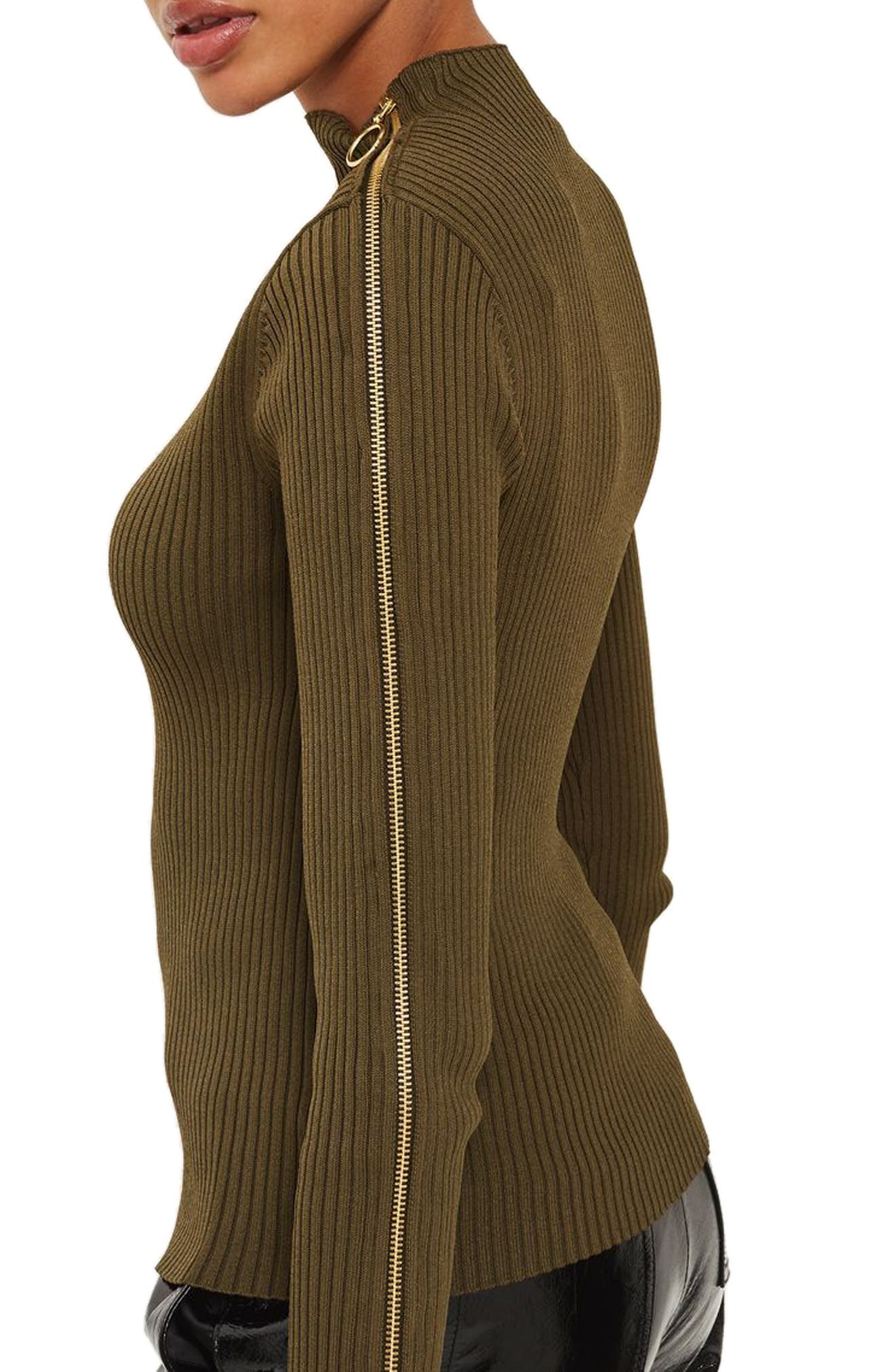 Zip Sleeve Funnel Neck Sweater,                         Main,                         color, Olive