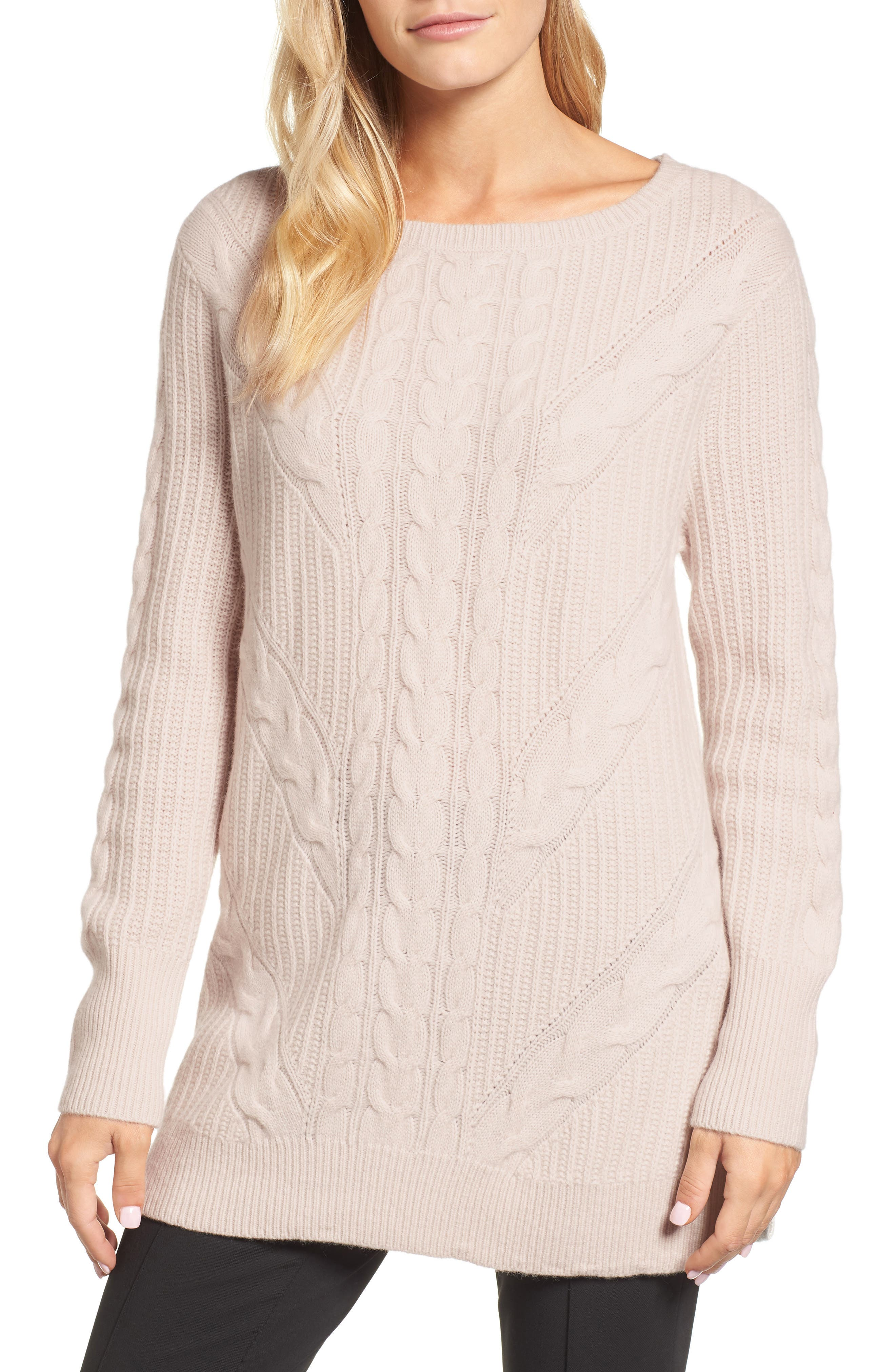 Cashmere Cable Tunic Sweater,                         Main,                         color, Beige Pumice Heather