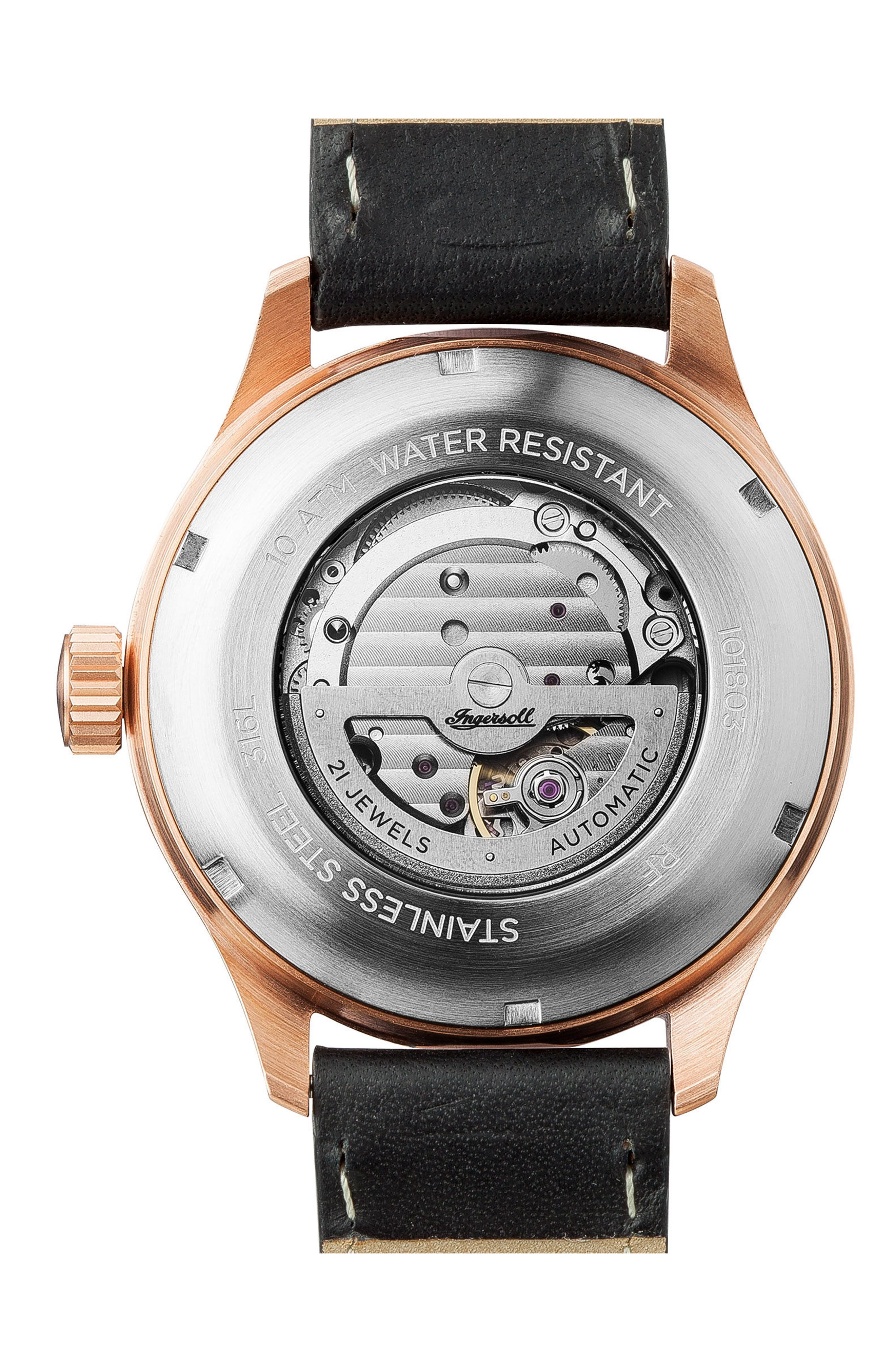Ingersoll Bateman Automatic Leather Strap Watch, 45mm,                             Alternate thumbnail 2, color,                             Black/ Rose Gold