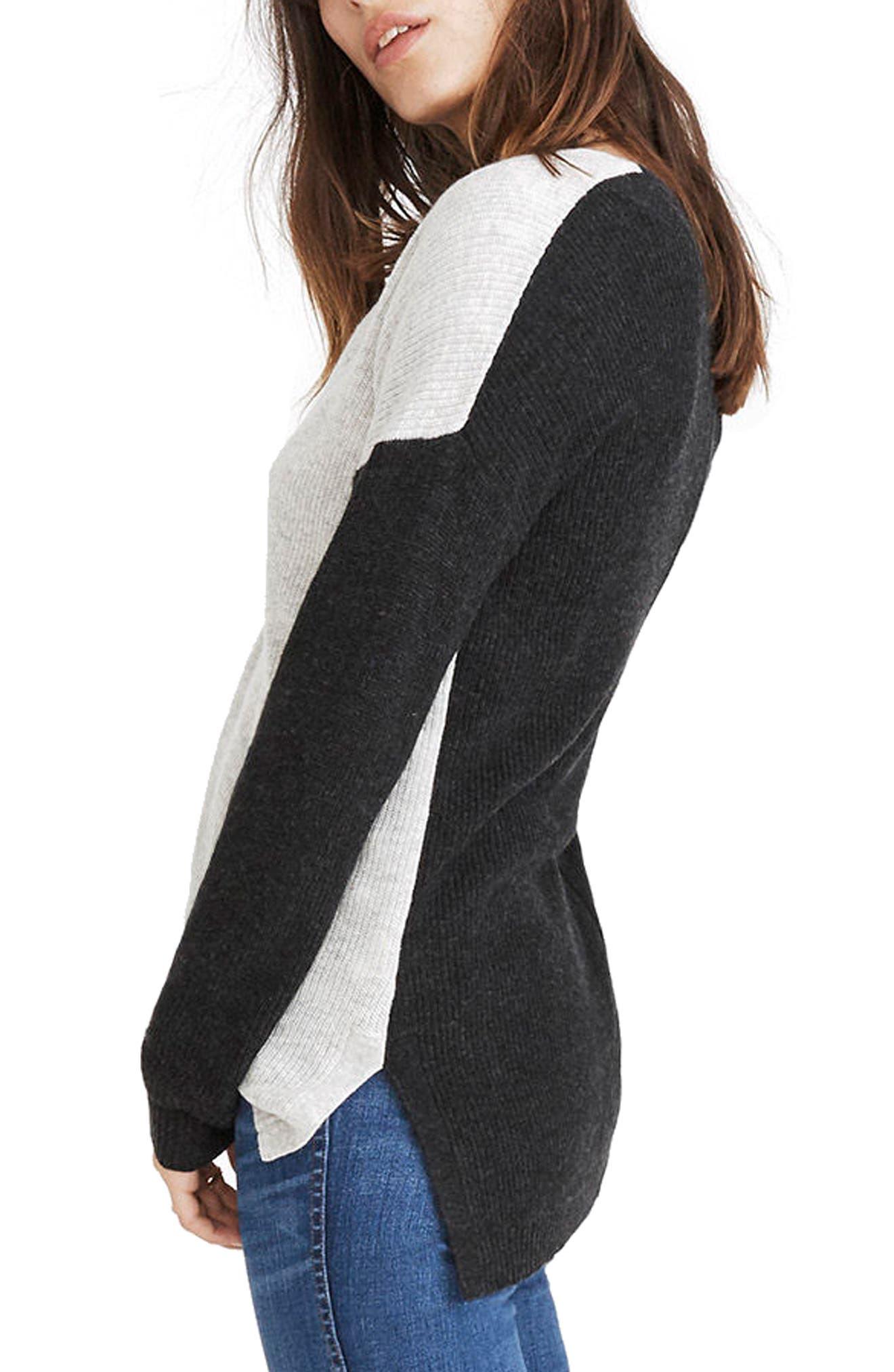 Warmlight Colorblock V-Neck Sweater,                             Alternate thumbnail 2, color,                             Heather Fog