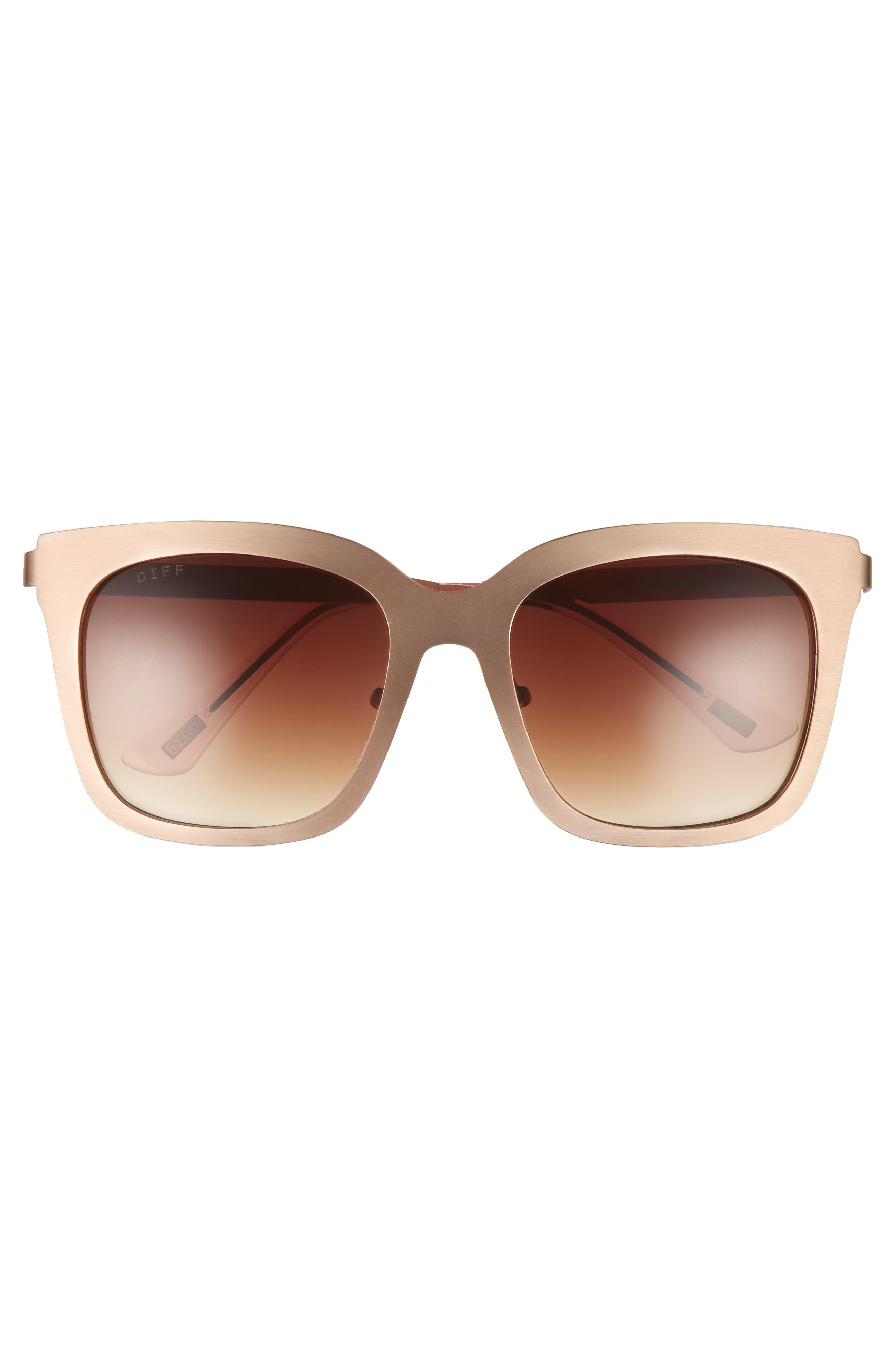 x Lauren Akins Ella 55mm Cat Eye Sunglasses,                             Alternate thumbnail 3, color,                             Gold/ Brown