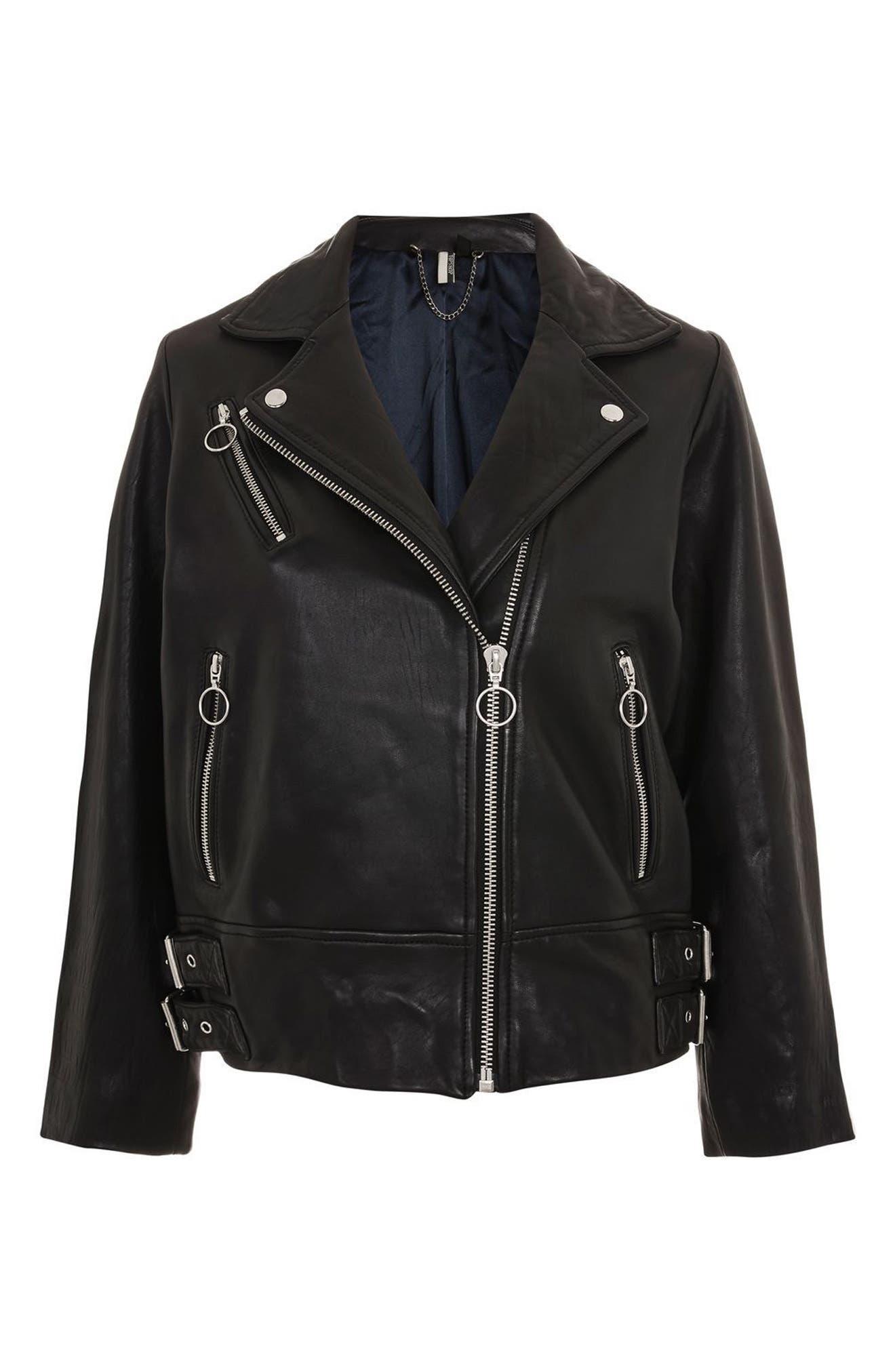 Brigitte Oversized Leather Biker Jacket,                             Alternate thumbnail 6, color,                             Black