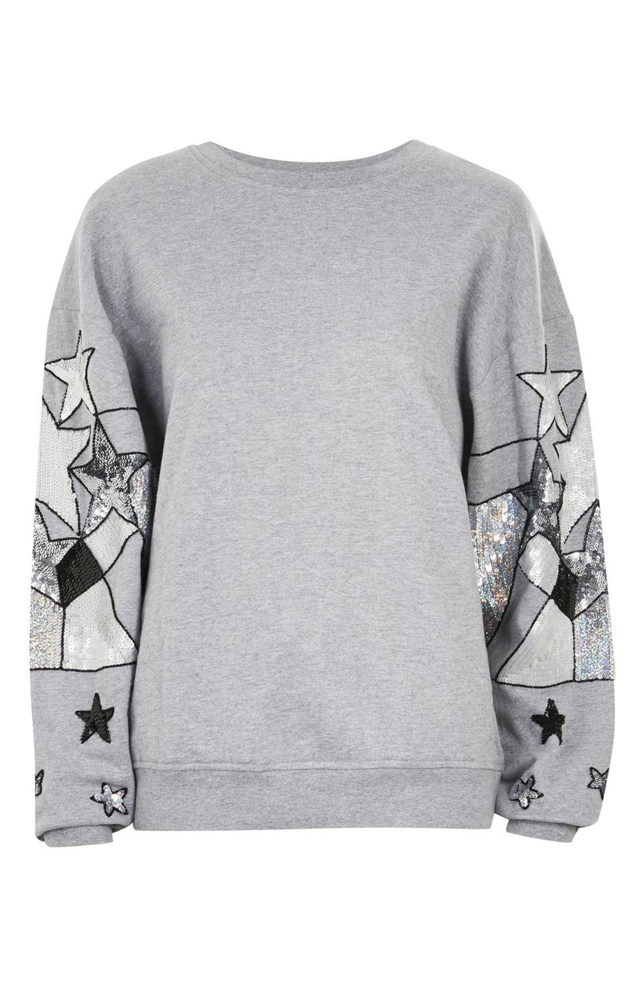 Sequin Star Sleeve Sweatshirt,                             Alternate thumbnail 3, color,                             Grey Marl