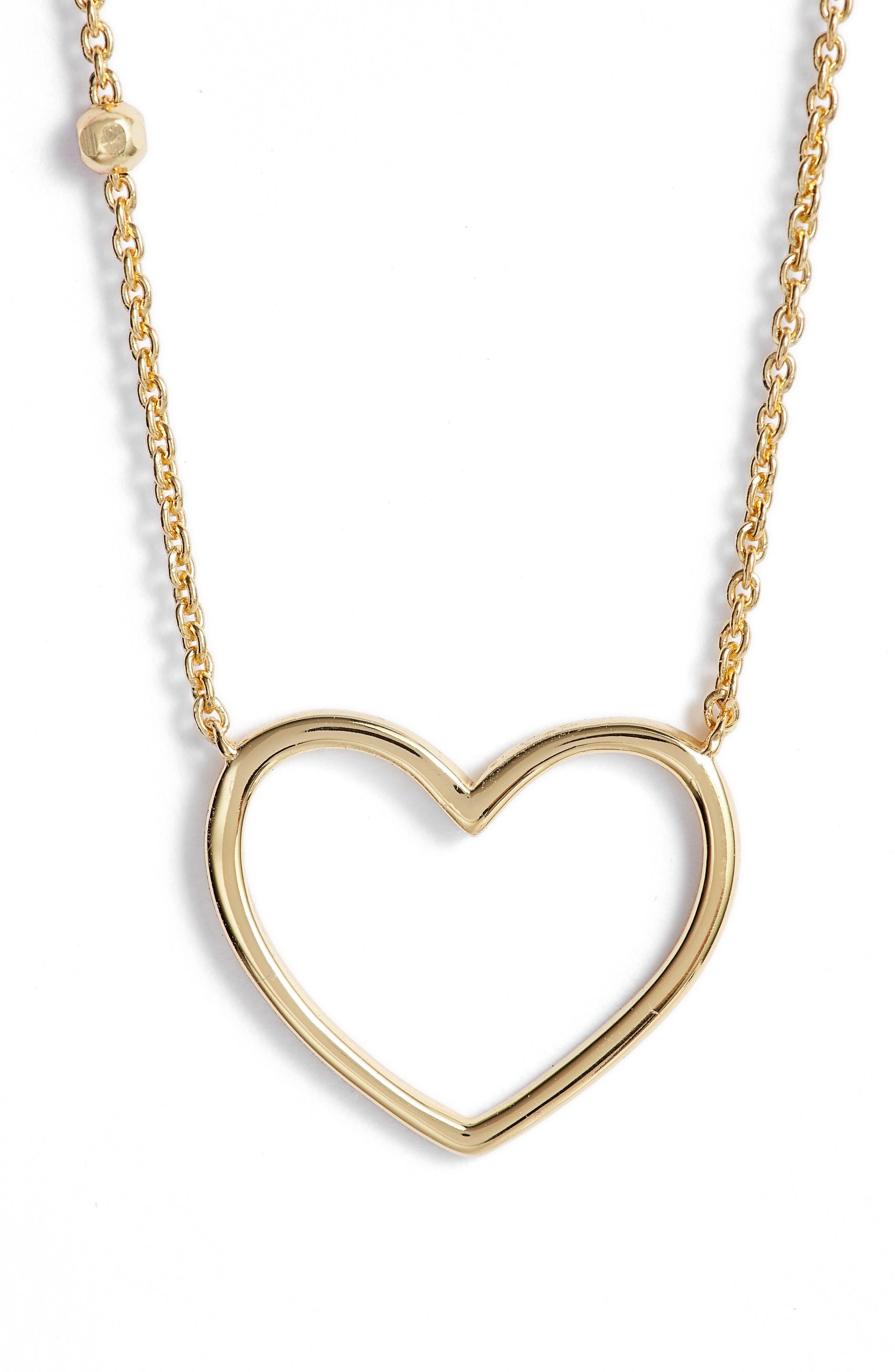 Heart Pendant Necklace,                             Main thumbnail 1, color,                             Gold
