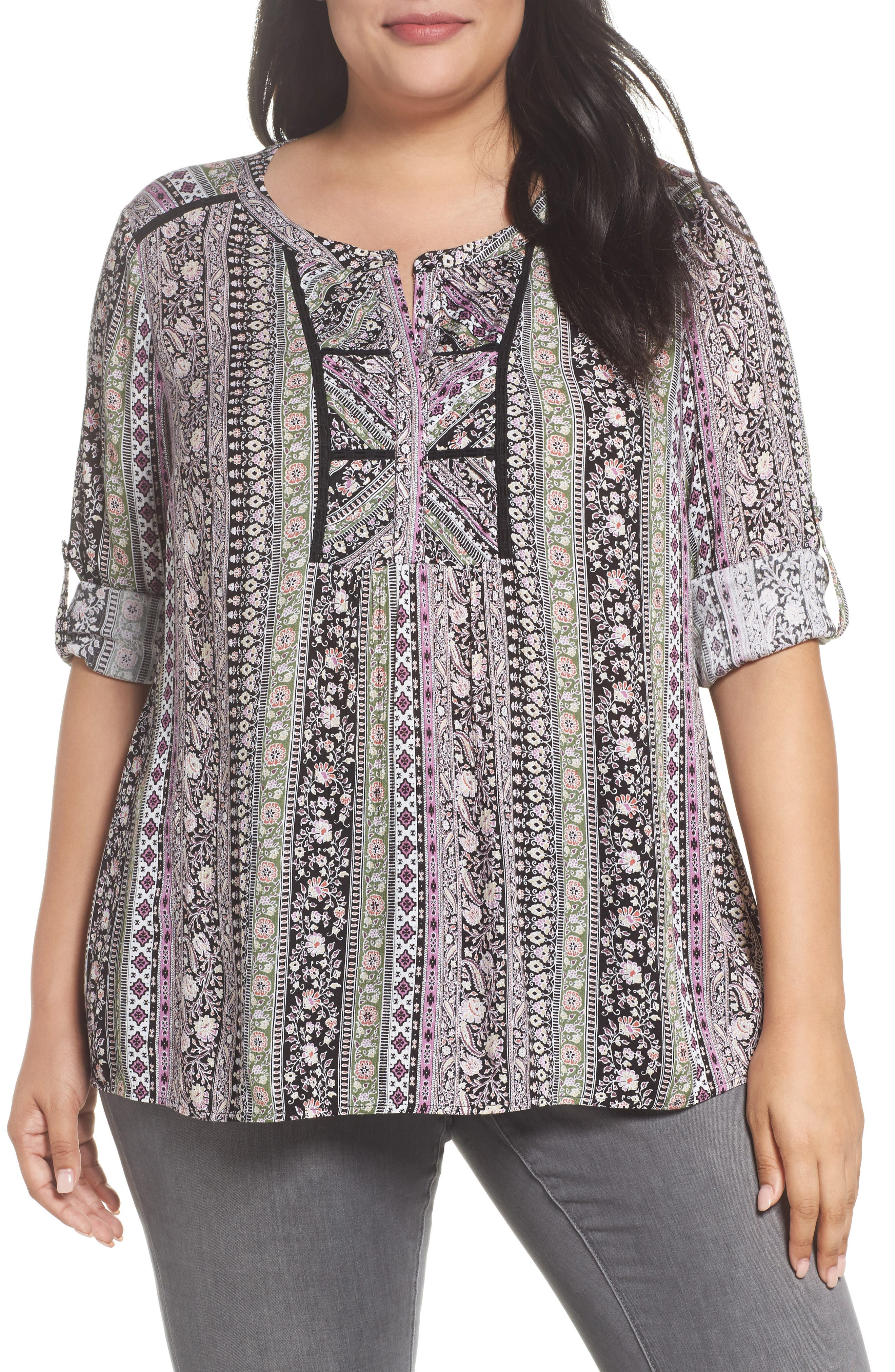 Alternate Image 1 Selected - Daniel Rainn Embroidered Trim Floral Stripe Top (Plus Size)