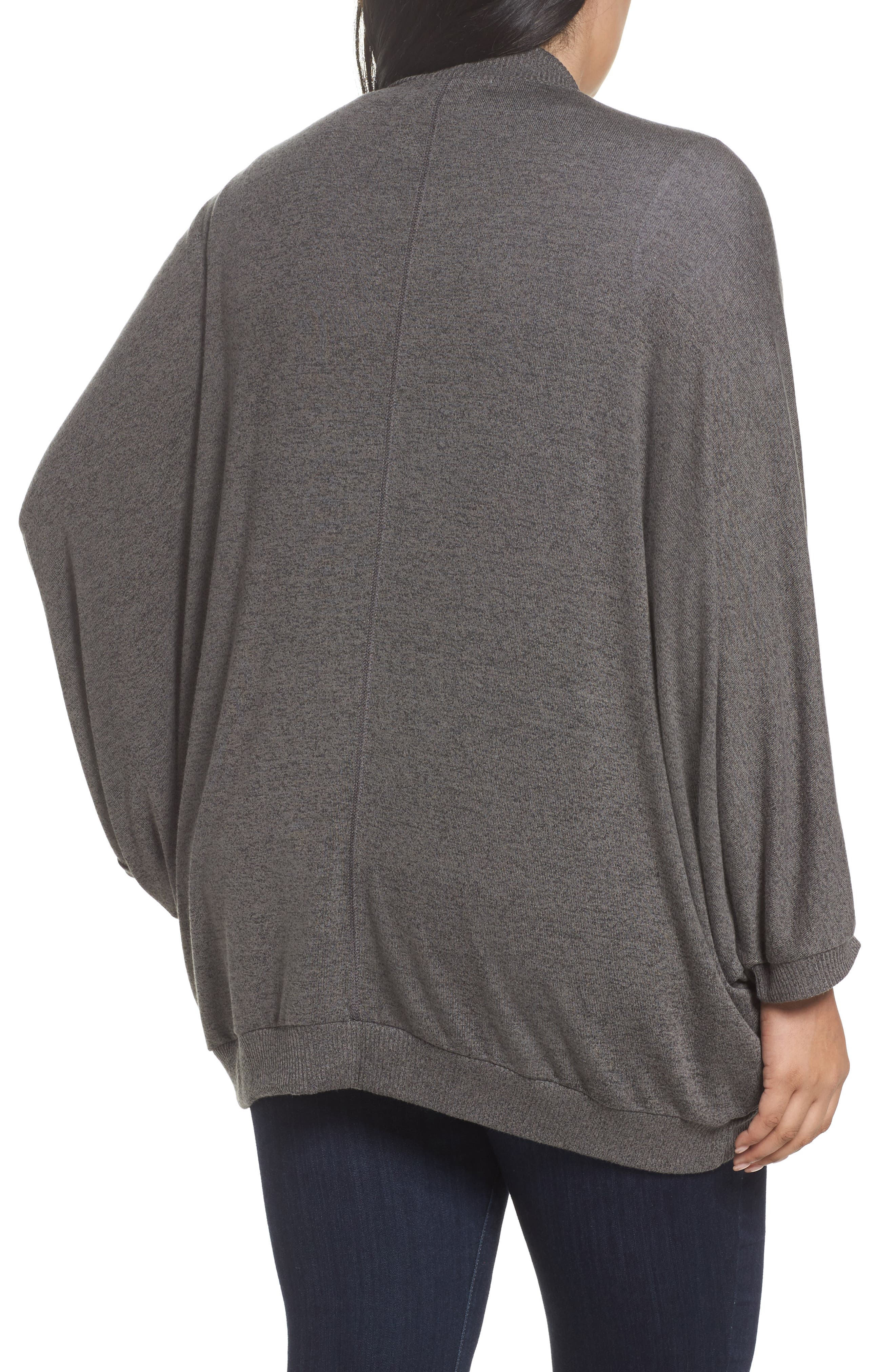 Hacci Cocoon Cardigan,                             Alternate thumbnail 2, color,                             Grey Medium Charcoal Heather
