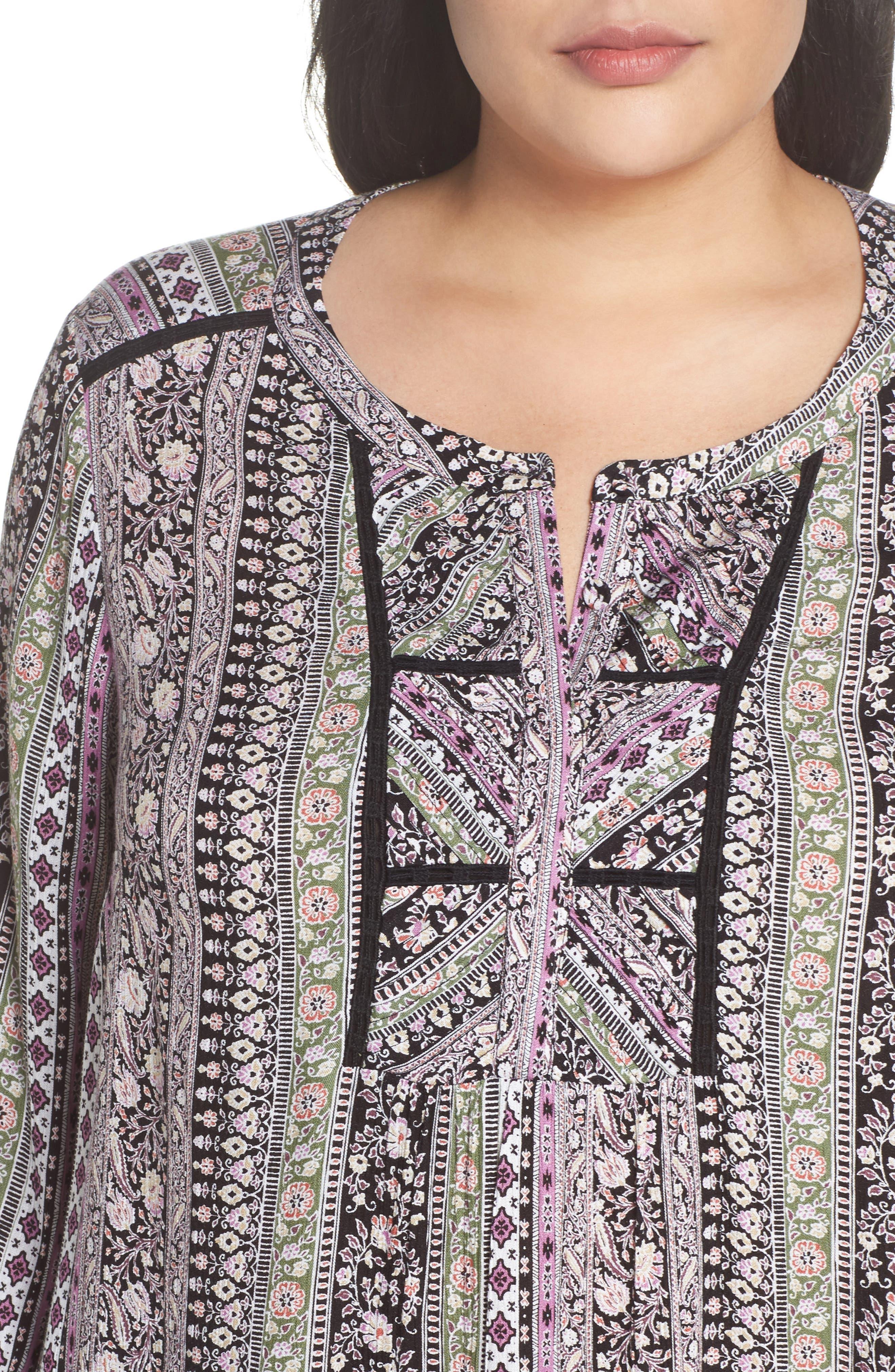 Alternate Image 4  - Daniel Rainn Embroidered Trim Floral Stripe Top (Plus Size)