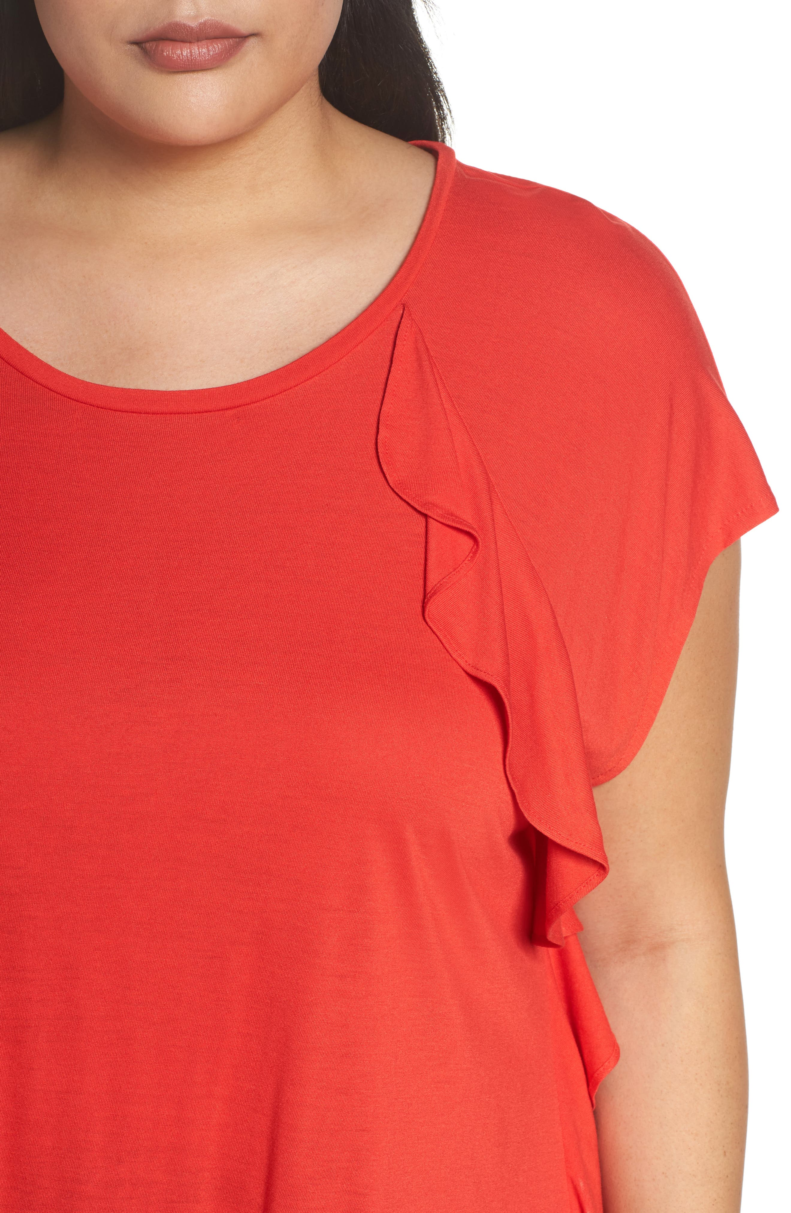 Ruffle Detail Top,                             Alternate thumbnail 4, color,                             Red Bloom