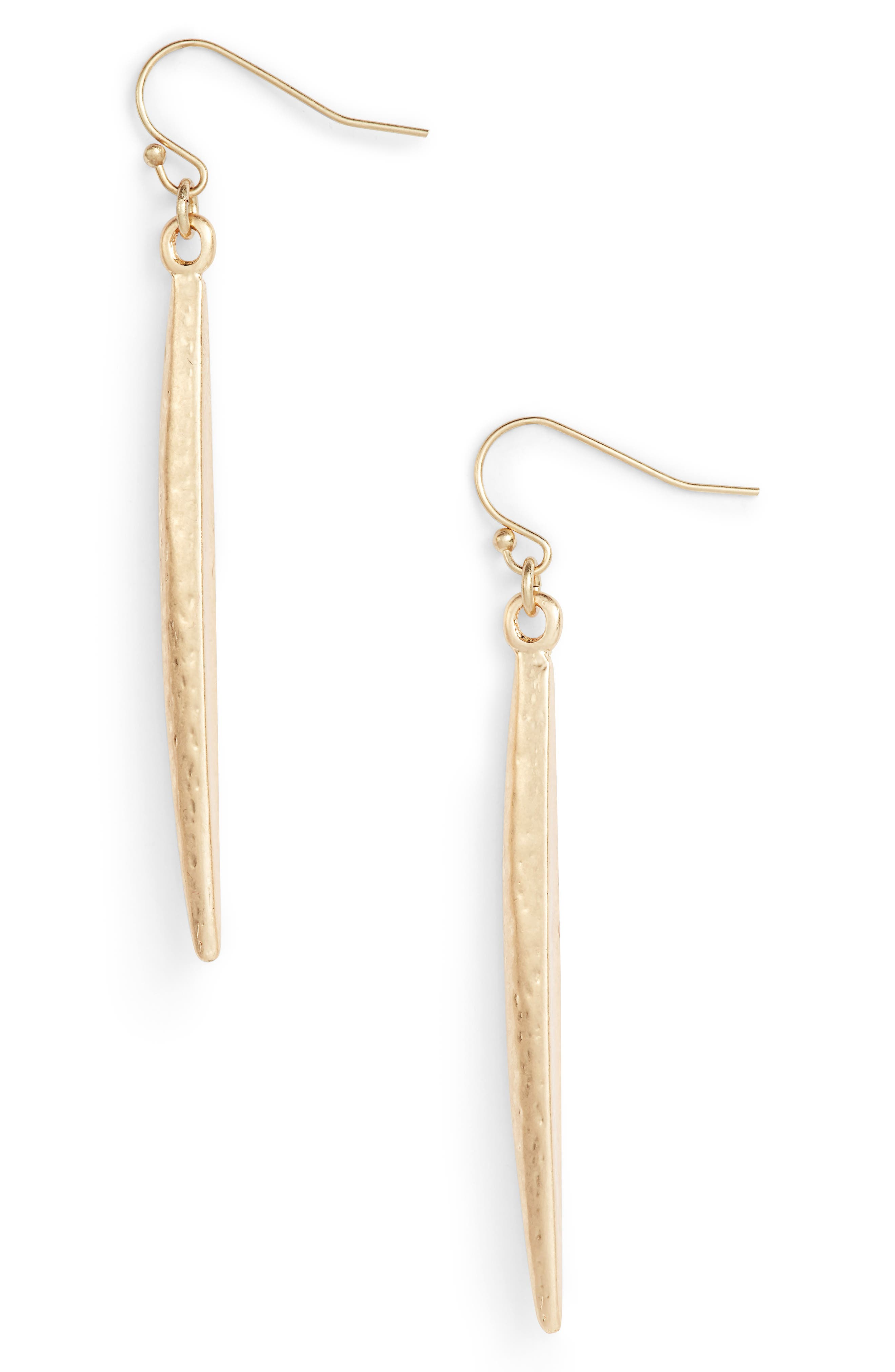 Hammered Linear Earrings,                         Main,                         color, Gold