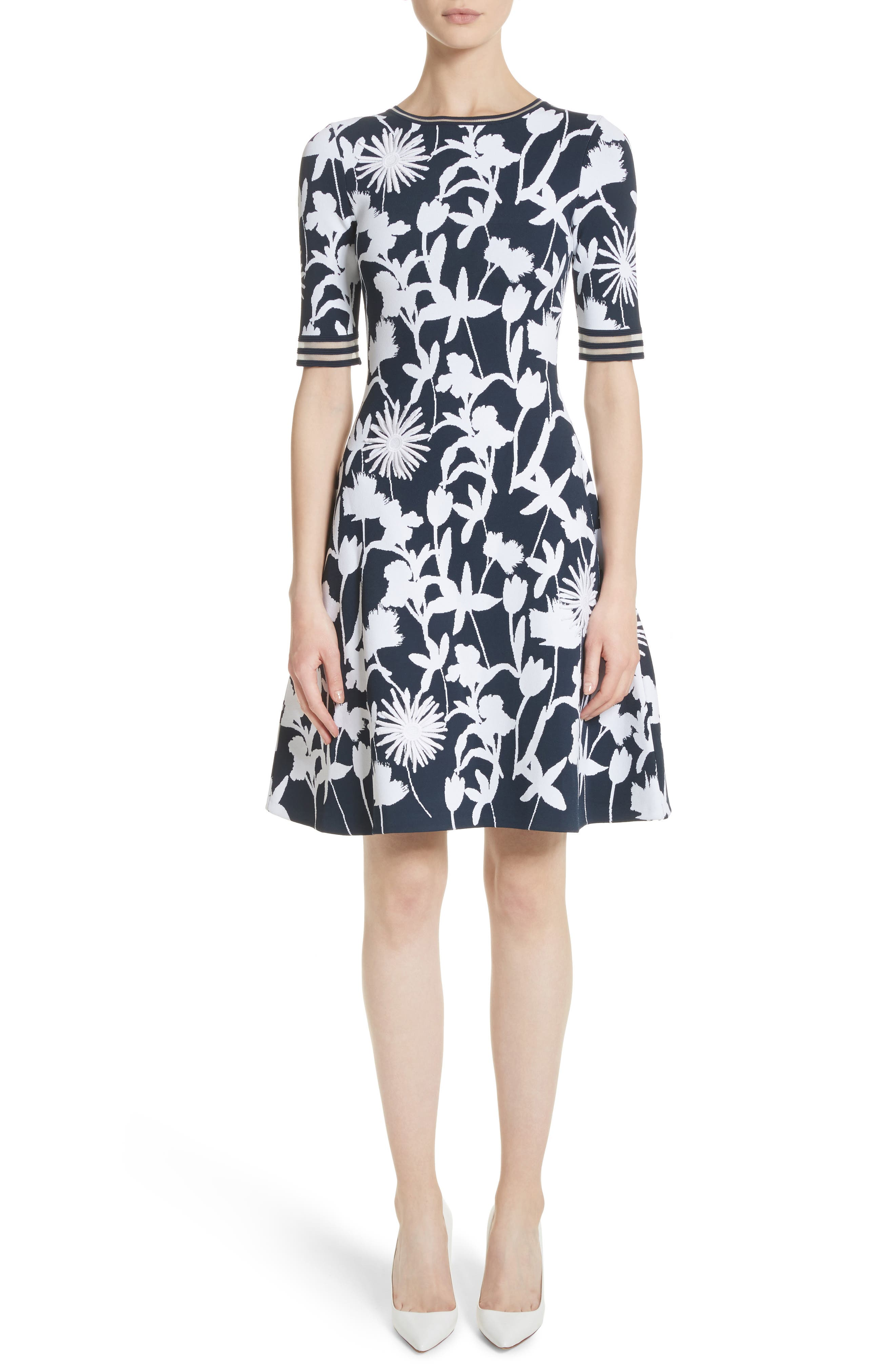 Floral Appliqué Intarsia Knit Dress,                         Main,                         color, Navy/ White
