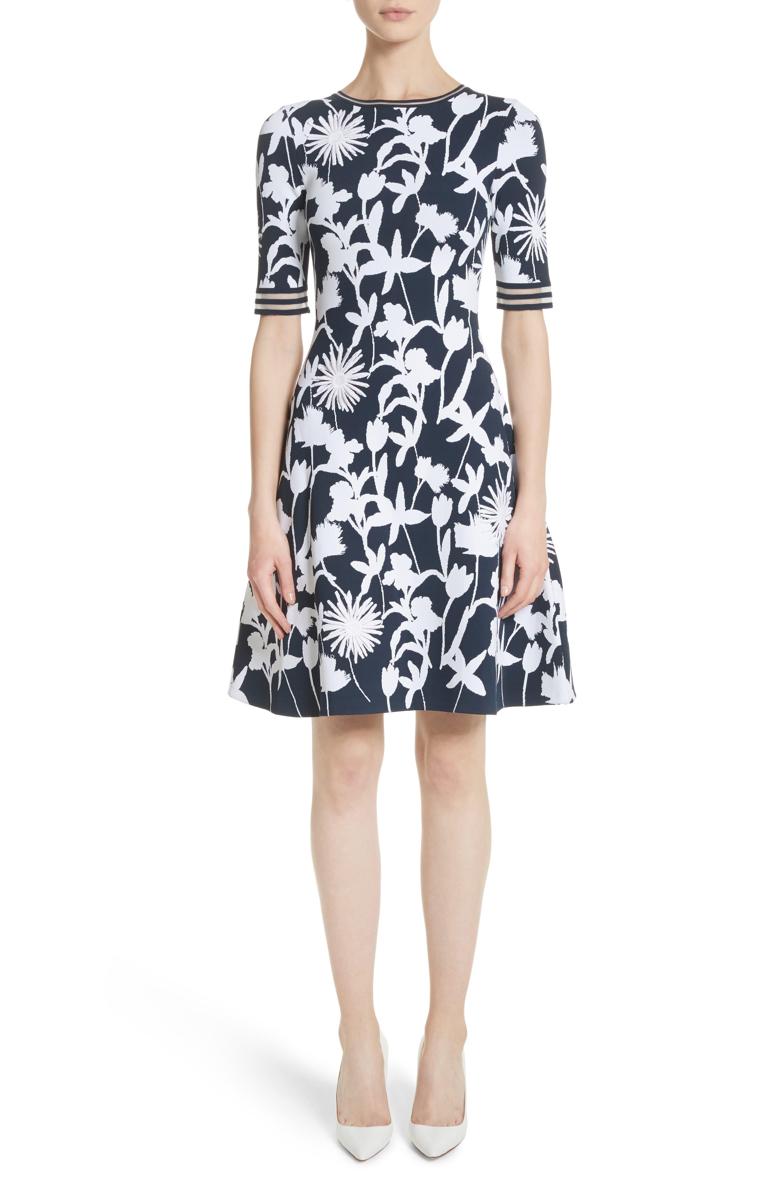 Oscar de la Renta Floral Appliqué Intarsia Knit Dress