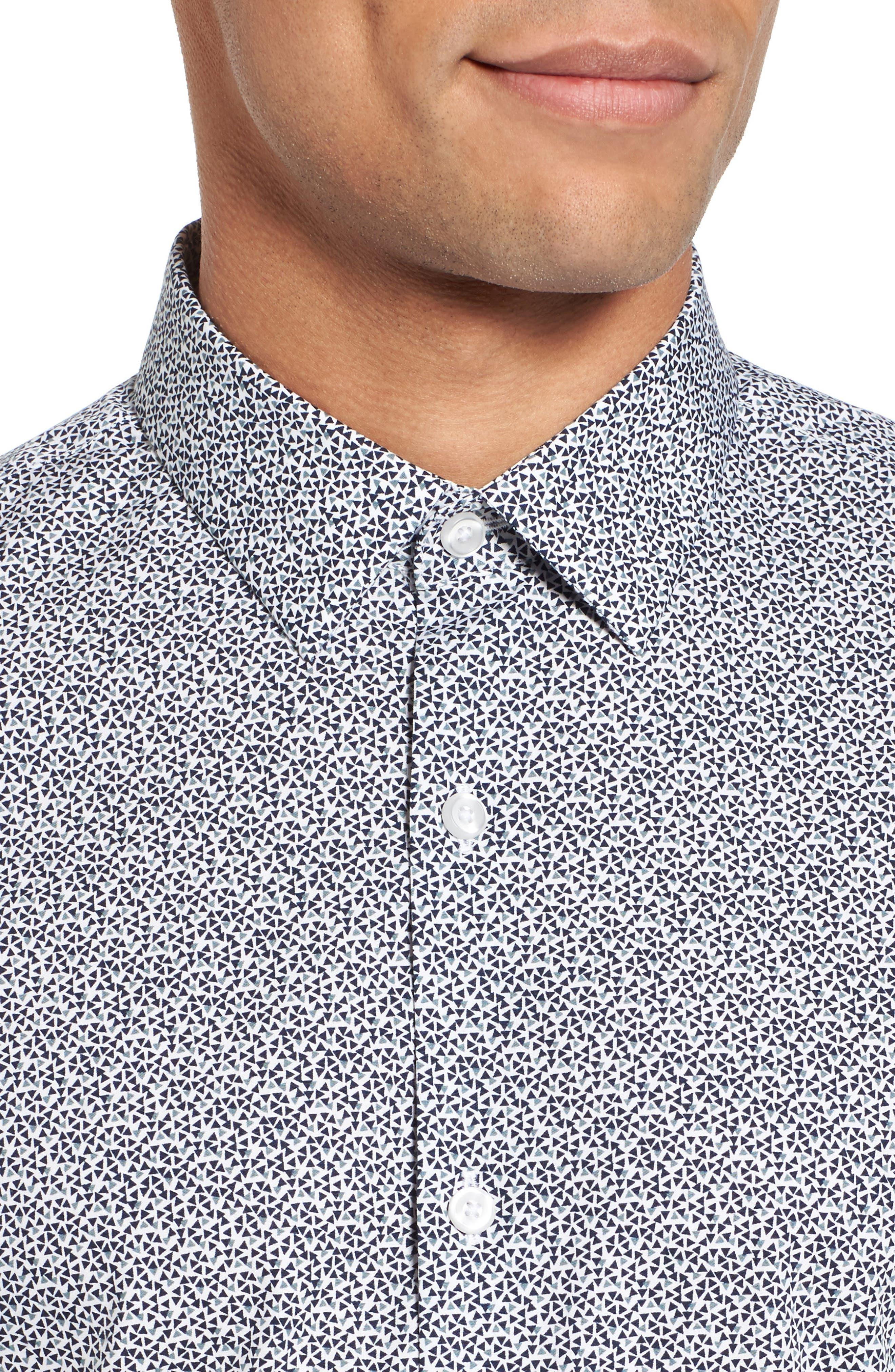 Trim Fit Geometric Sport Shirt,                             Alternate thumbnail 2, color,                             Navy Blue Scatter Triangles