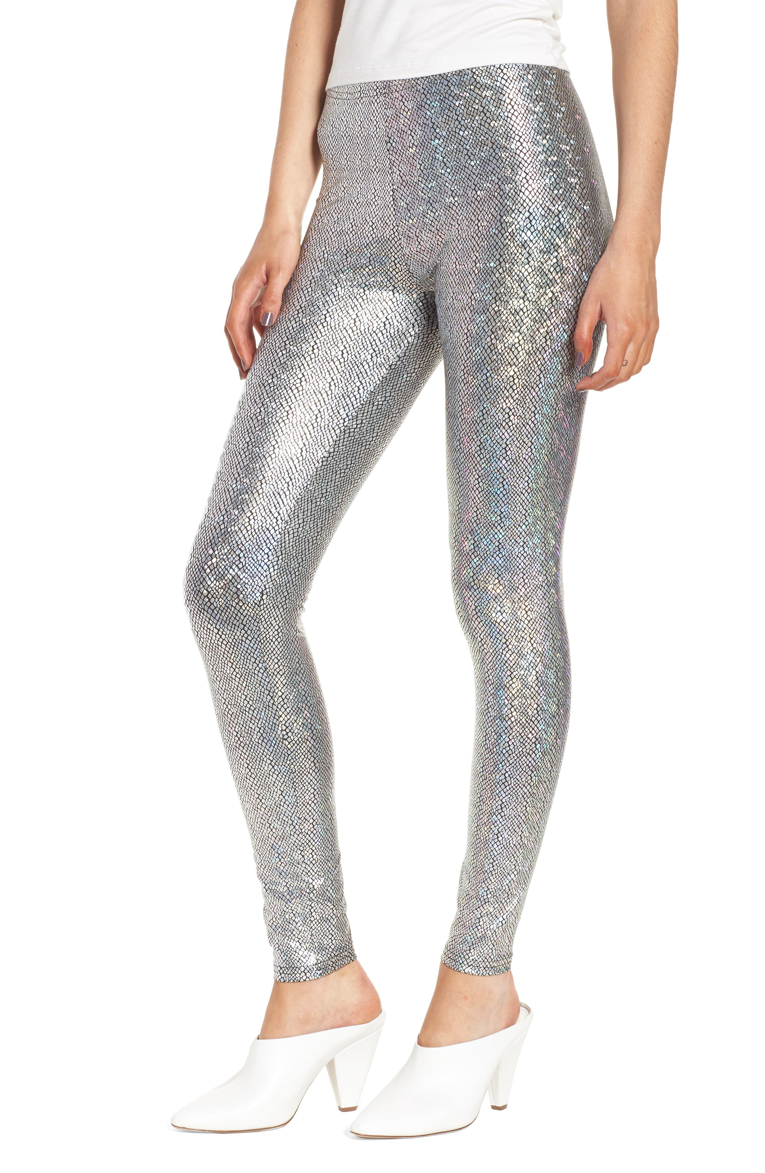 Metallic Foil Snake Print Leggings,                         Main,                         color, Silver