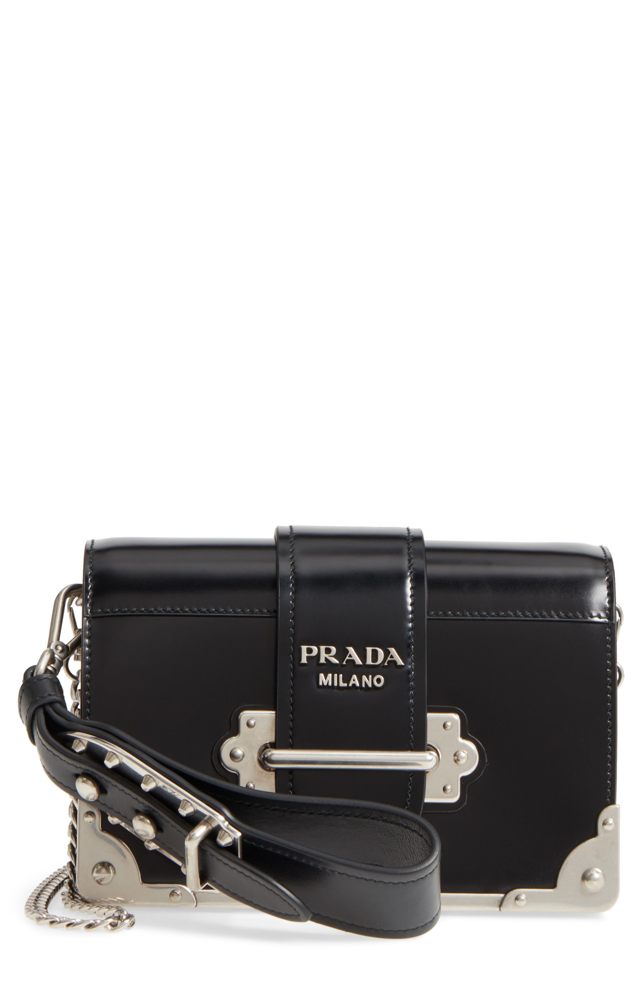 Main Image - Prada Small Cahier Leather Shoulder Bag