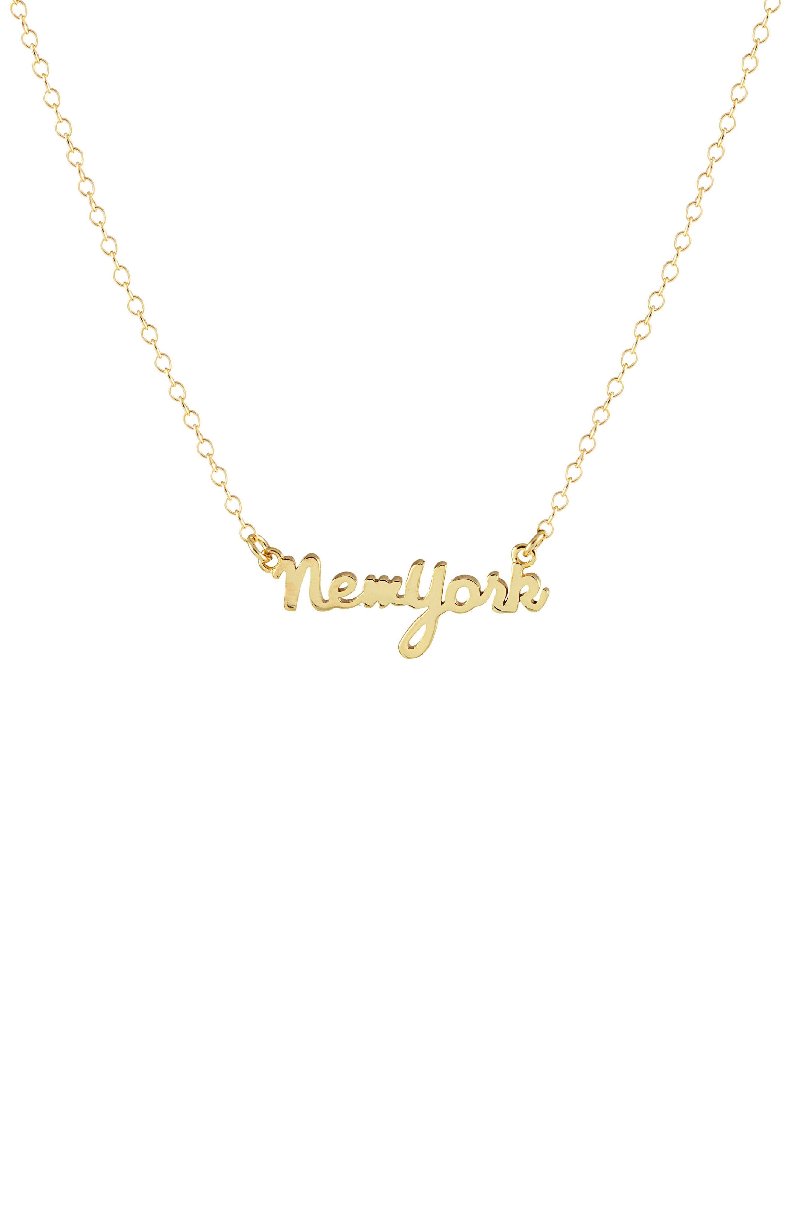 Solid State Charm Necklace,                         Main,                         color, New York - Gold