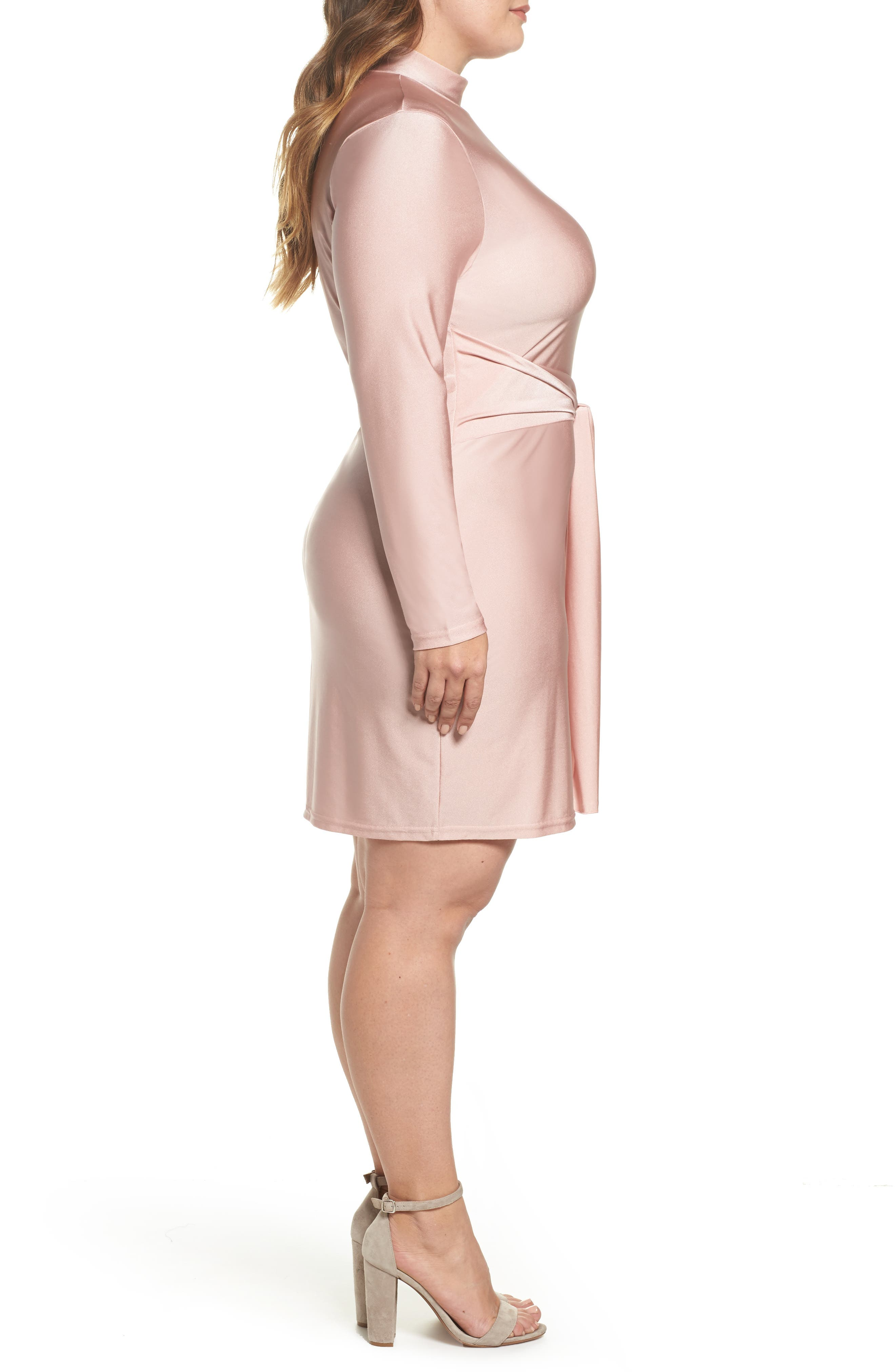 Shimmer Tie-Front Dress,                             Alternate thumbnail 3, color,                             Pink