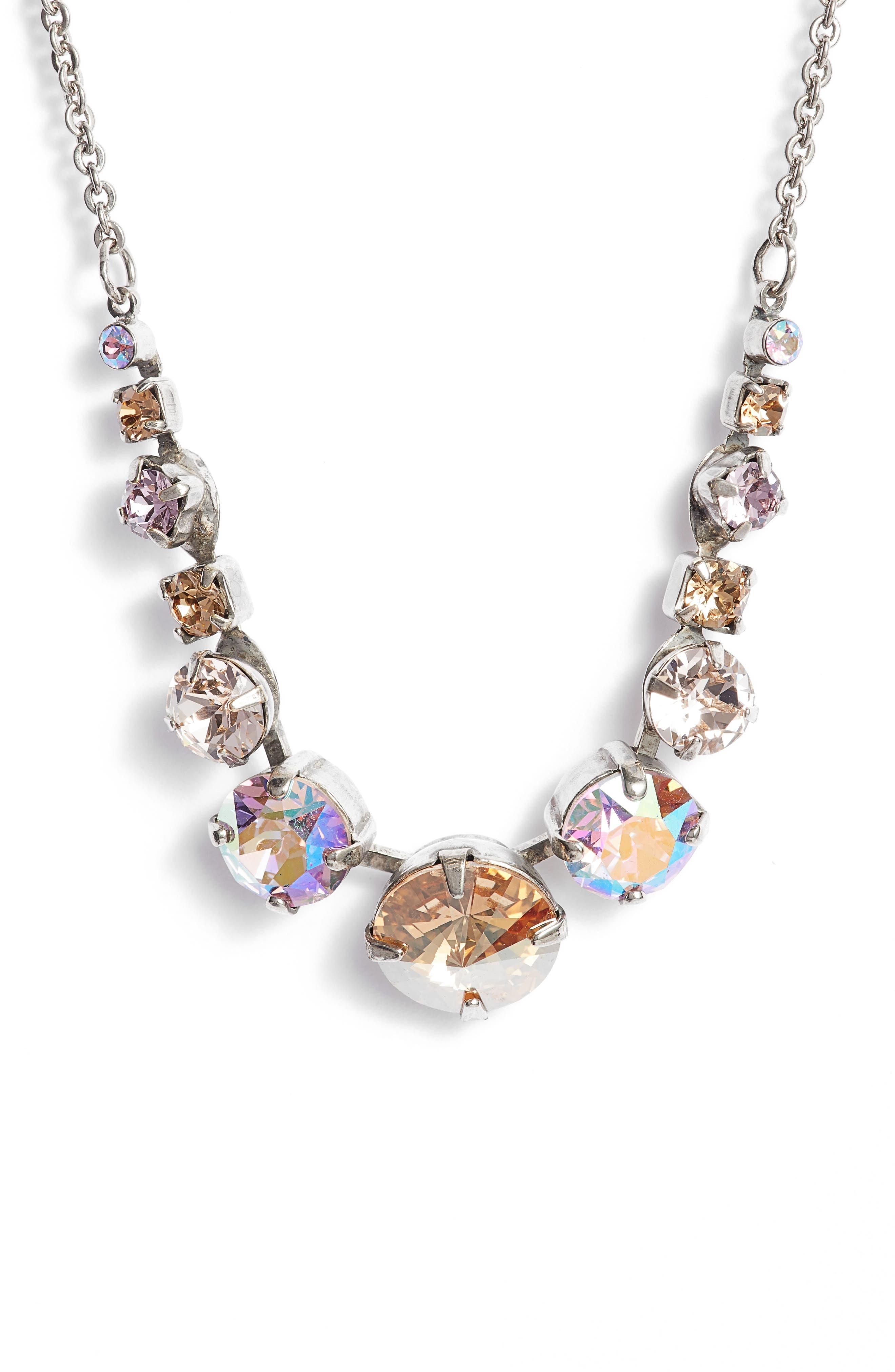 Crystal Collar Necklace,                             Main thumbnail 1, color,                             Tan