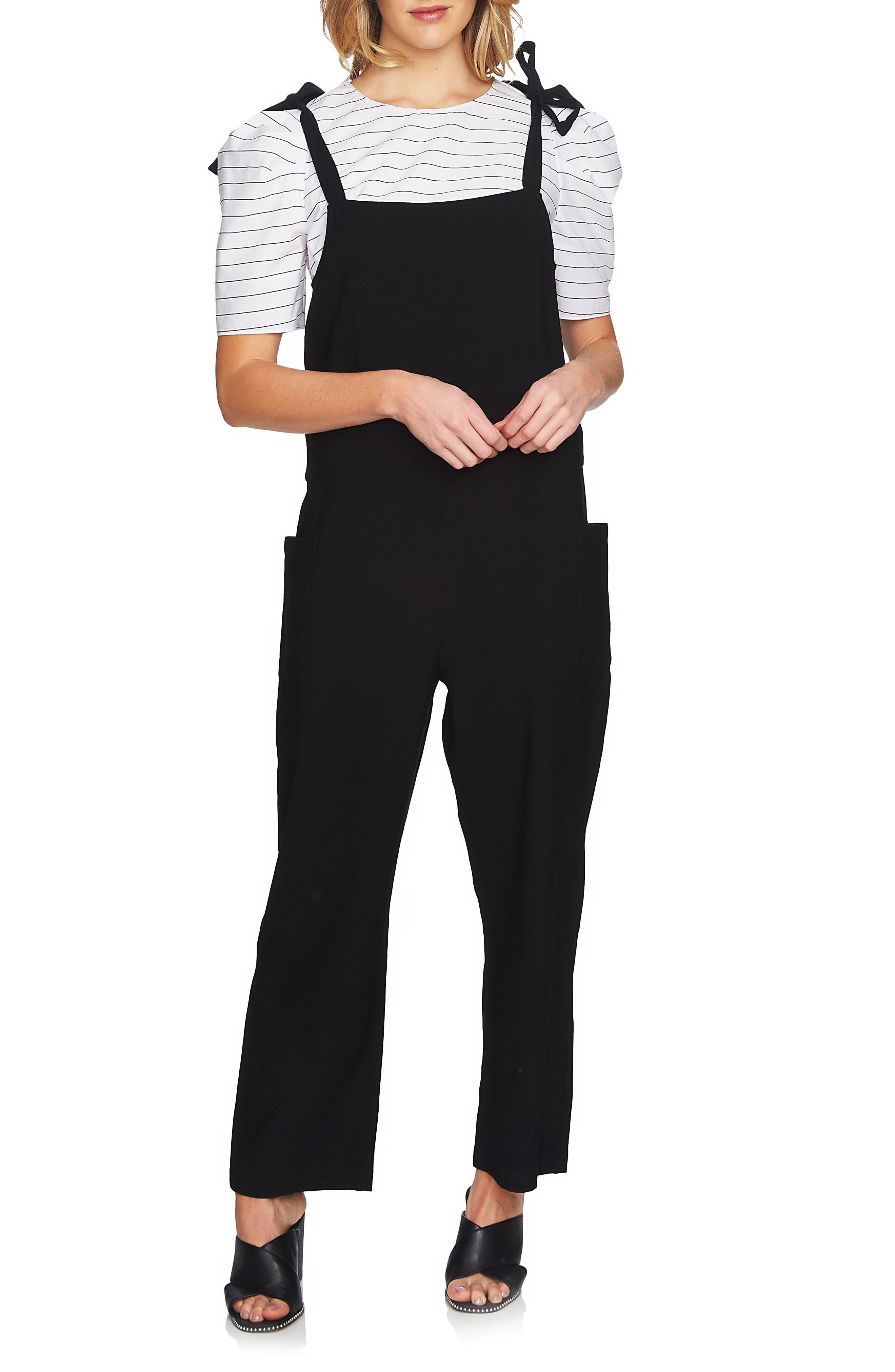 Tie Shoulder Overalls,                         Main,                         color, Rich Black