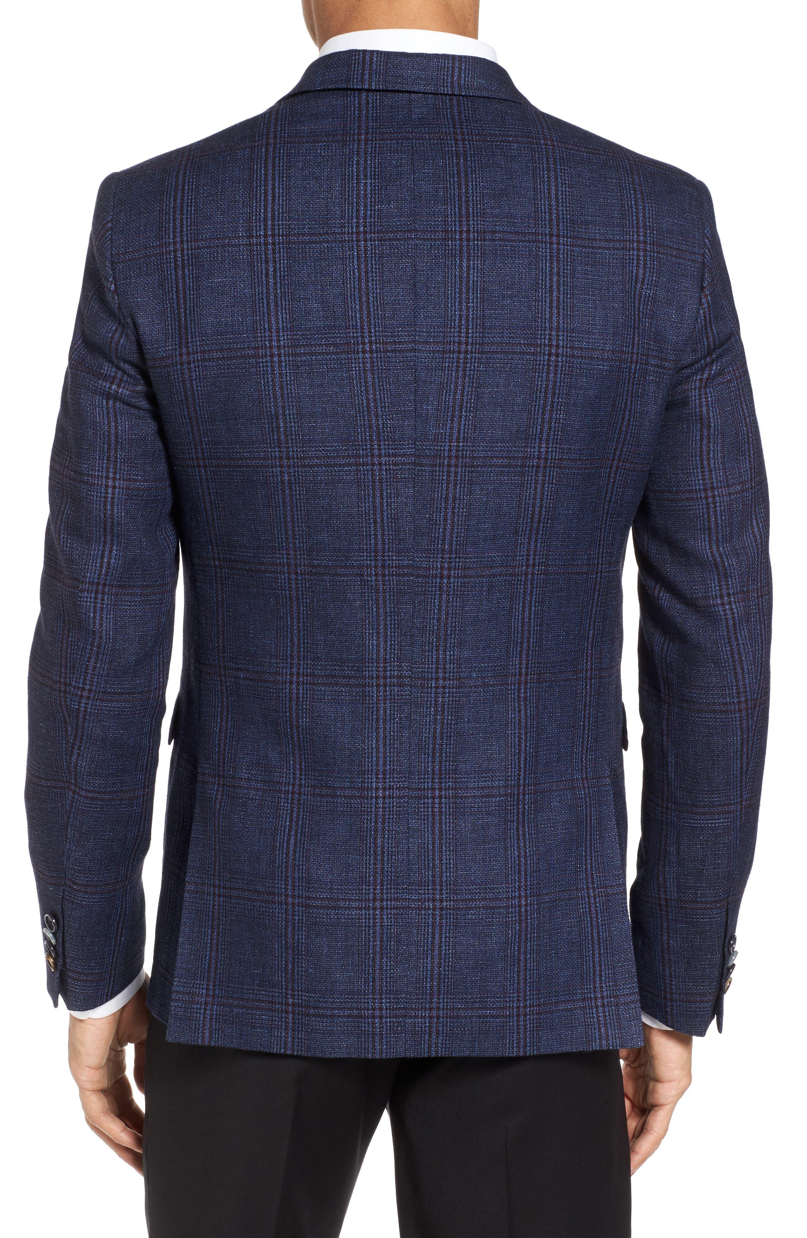 Trim Fit Plaid Linen & Wool Sport Coat,                             Alternate thumbnail 2, color,                             Navy Red