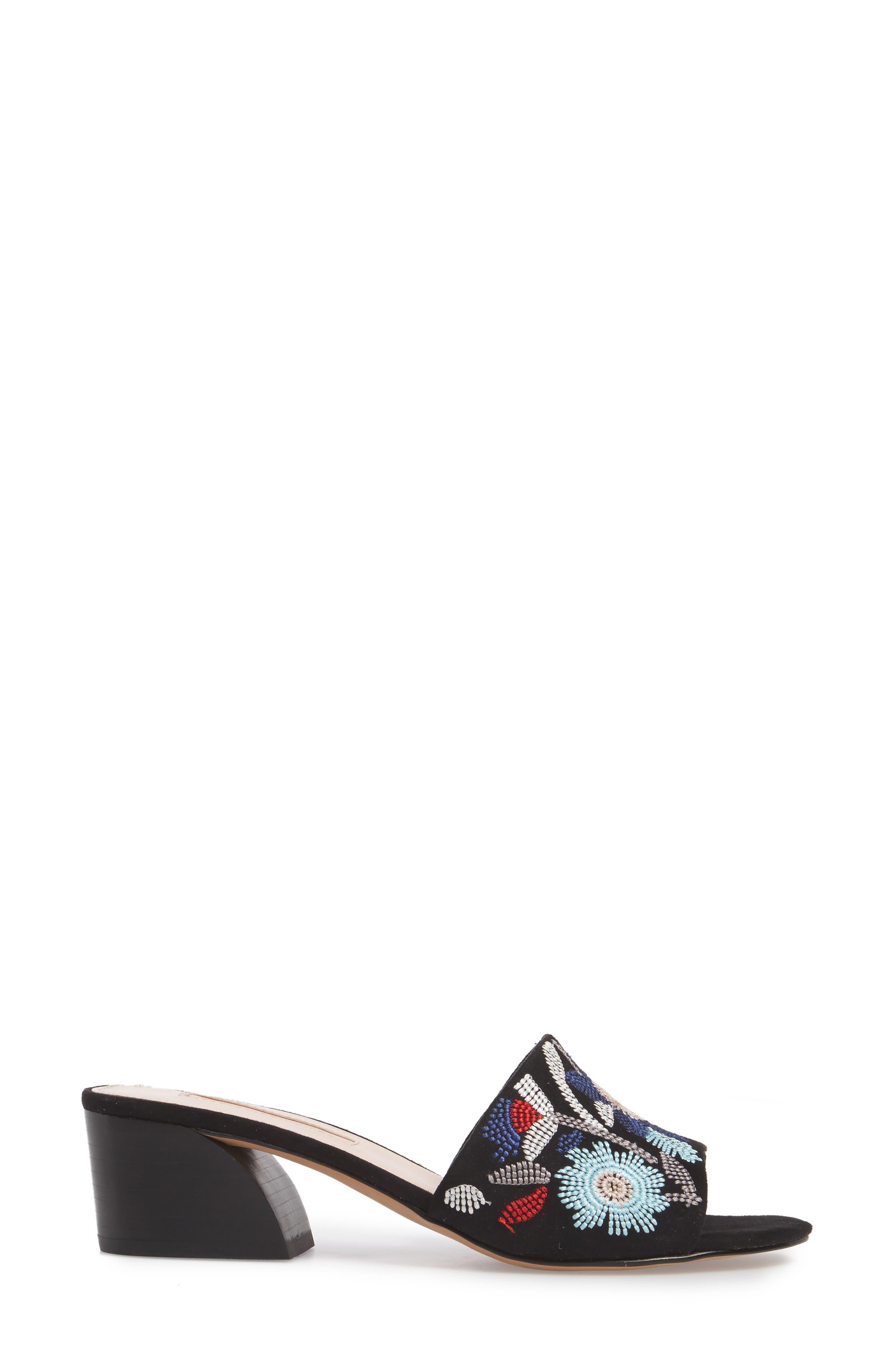 Sloane Sandal,                             Alternate thumbnail 3, color,                             Black Multi Fabric