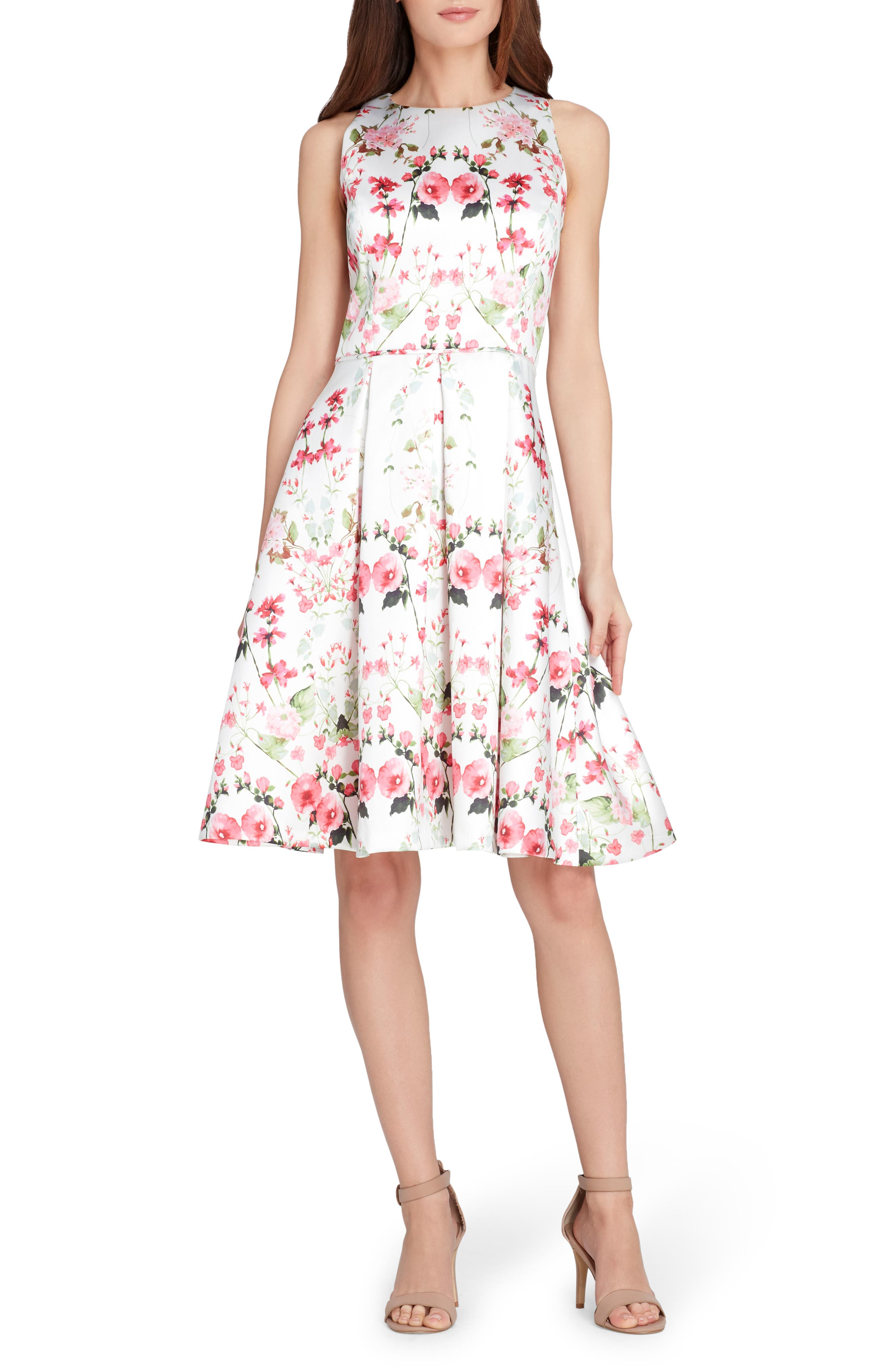 Micado Floral Print Fit & Flare Dress,                         Main,                         color, Ivory/ Fuchsia/ Green