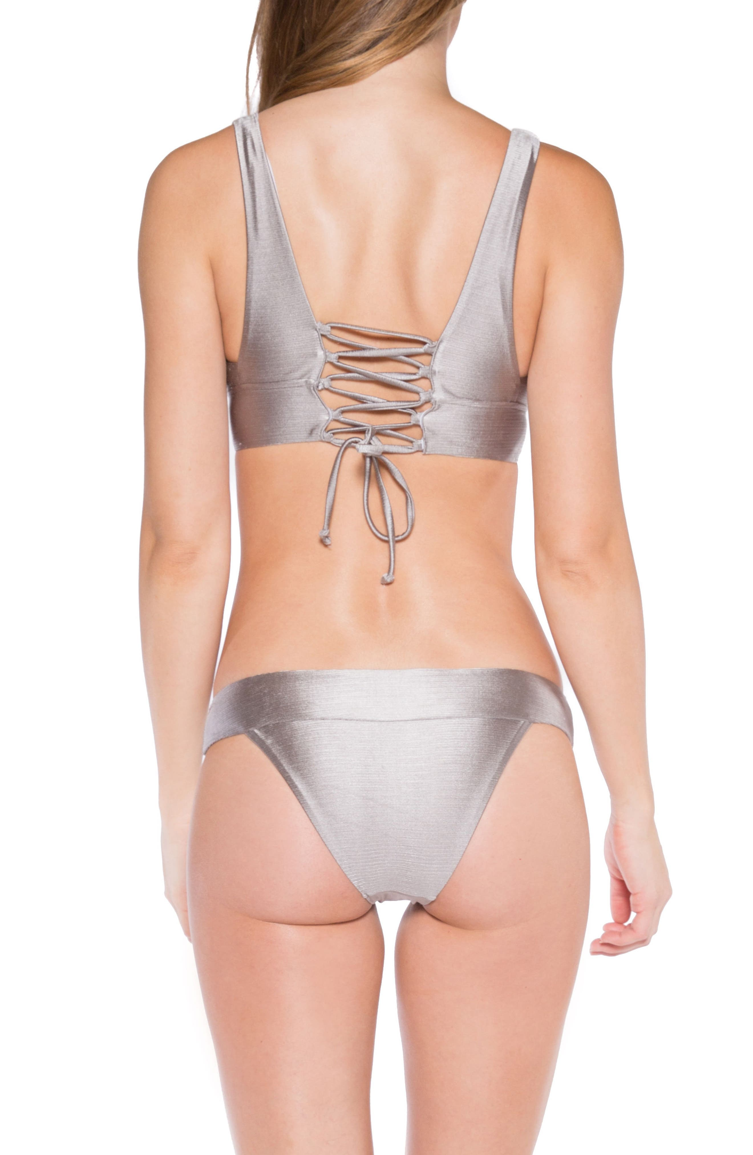 Selena Lace-Up Back Bikini Top,                             Alternate thumbnail 5, color,                             Sand Dollar